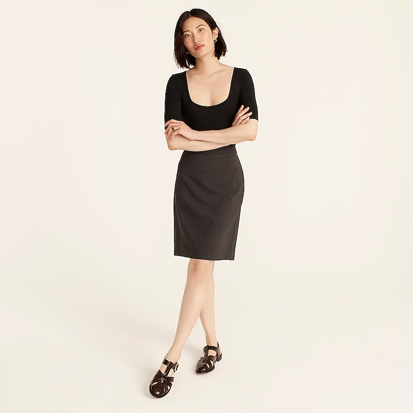 j.crew: no. 2 pencil® skirt in italian stretch wool for women, right side, view zoomed