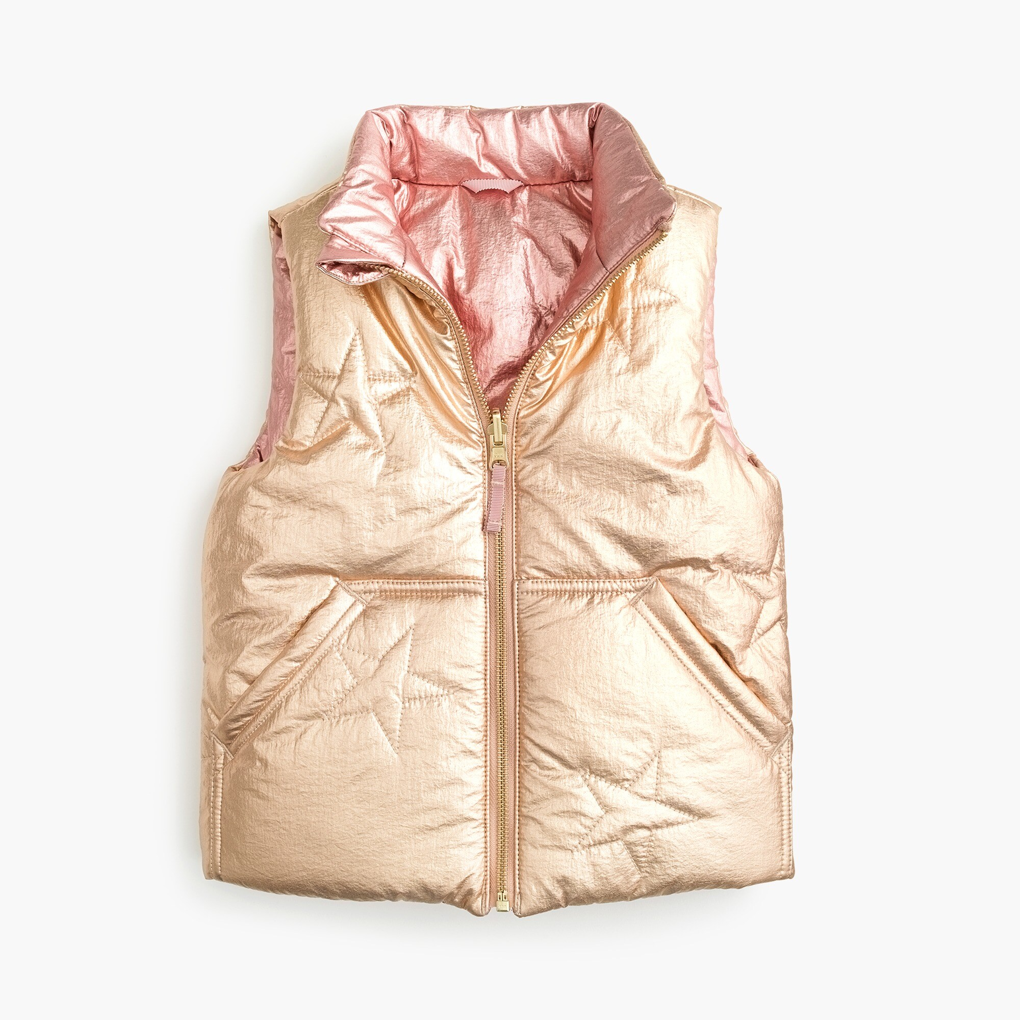 girls Girls' reversible metallic puffer vest with Primaloft®