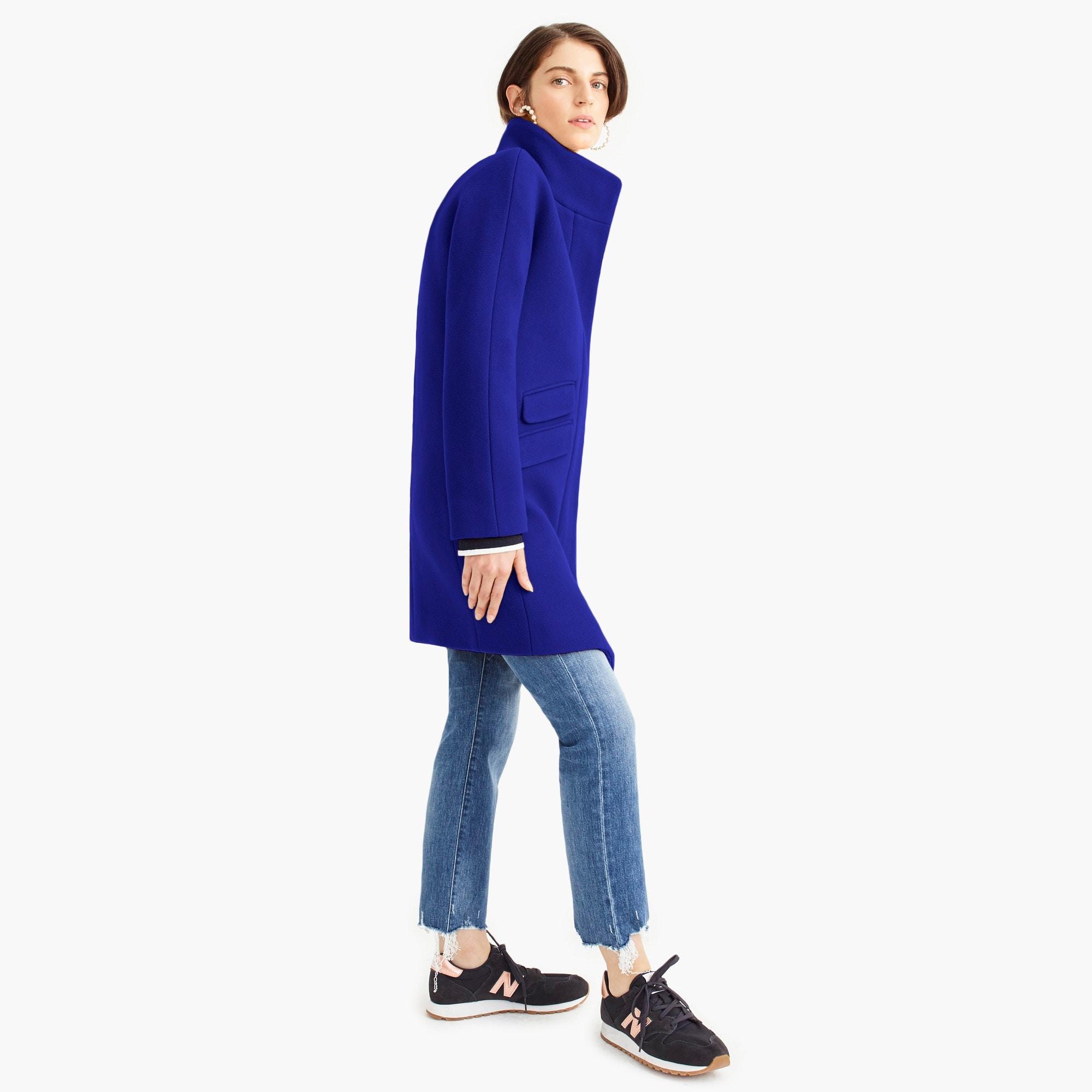 womens Tall cocoon coat in Italian stadium-cloth wool