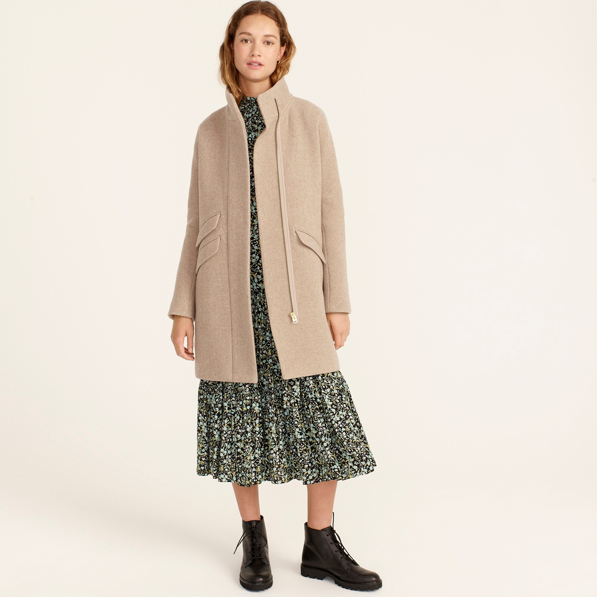 womens Cocoon coat in Italian stadium-cloth wool