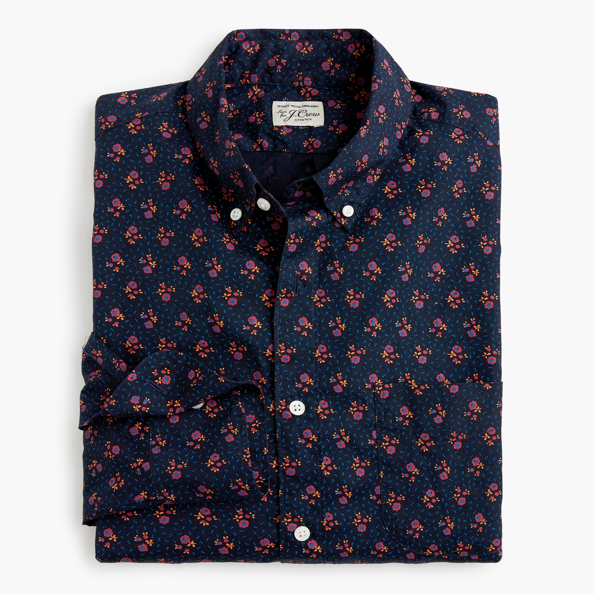 mens Untucked stretch Secret Wash shirt in navy floral