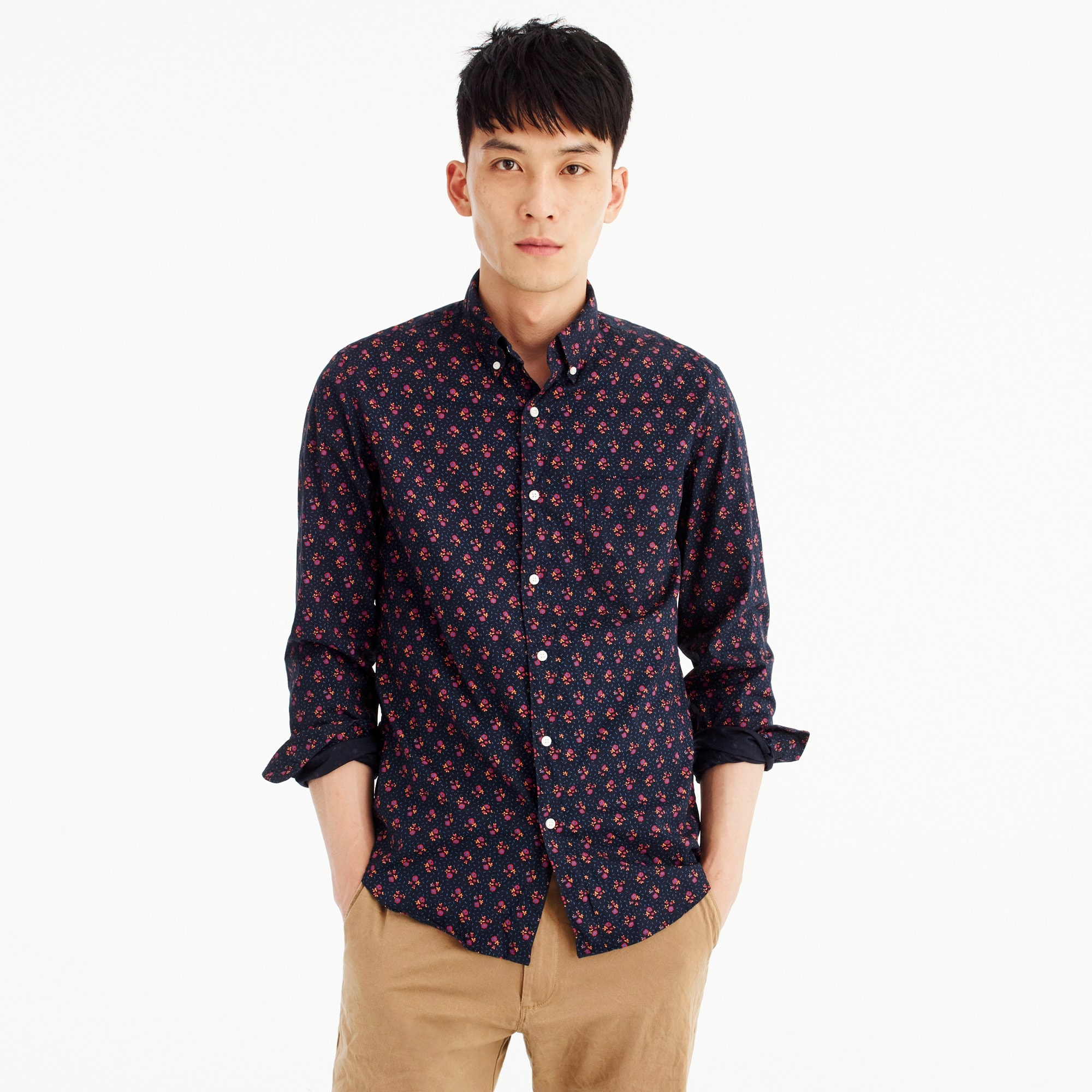 Slim stretch Secret Wash shirt in navy floral
