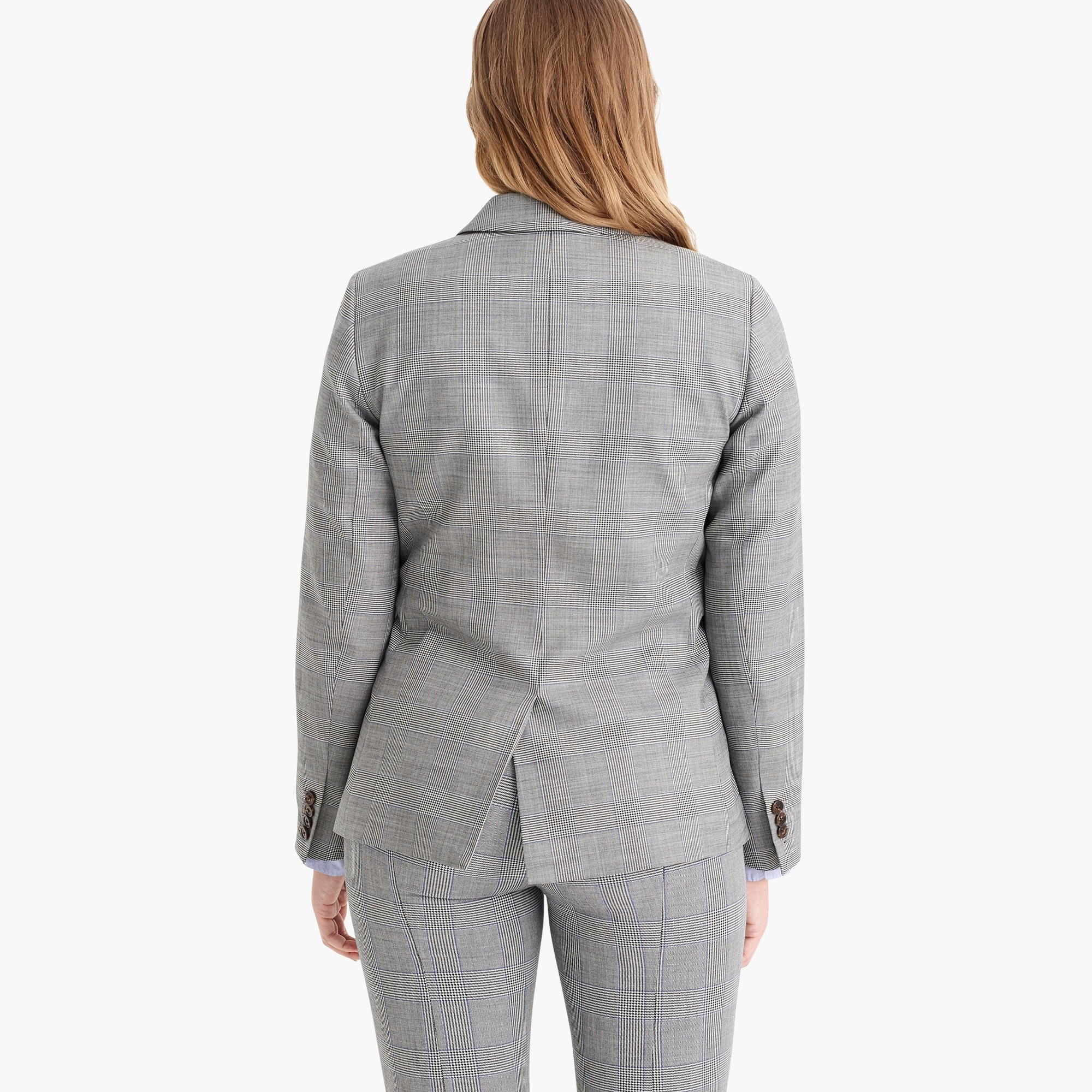 Ruffle-pocket blazer in glen plaid
