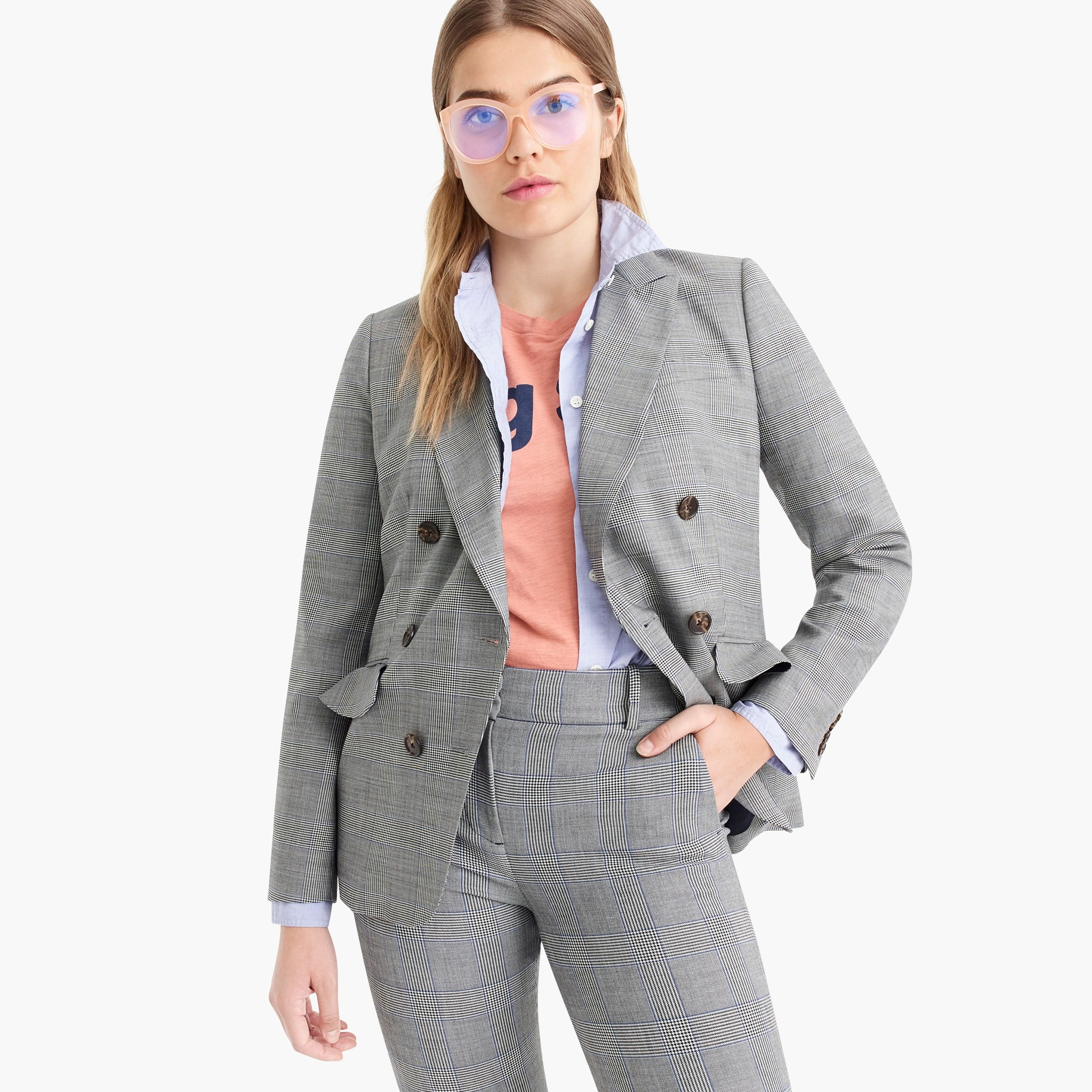 ruffle-pocket blazer in glen plaid : women double breasted