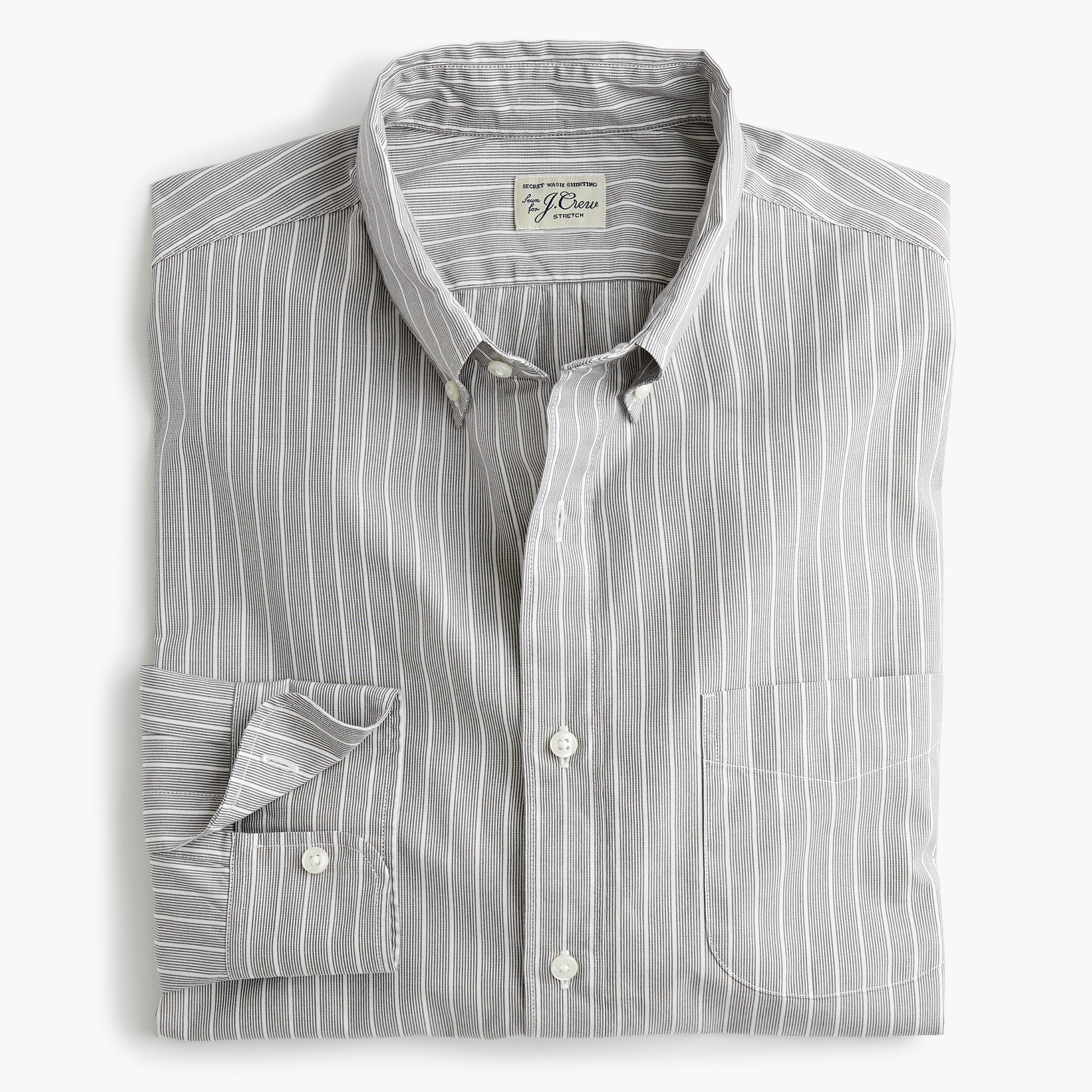 mens Untucked stretch Secret Wash shirt in grey microstripe