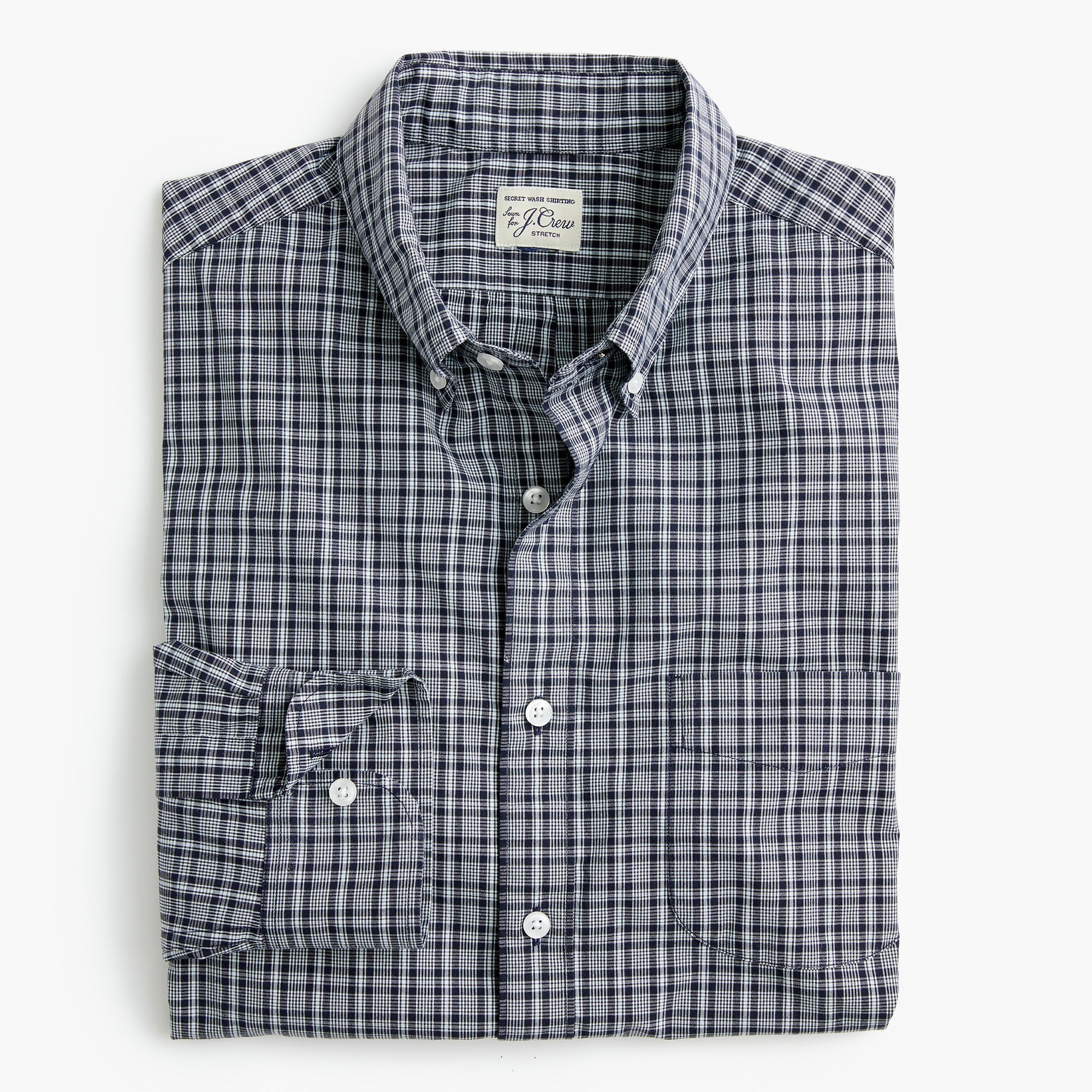 mens Slim stretch Secret Wash shirt in dark navy plaid