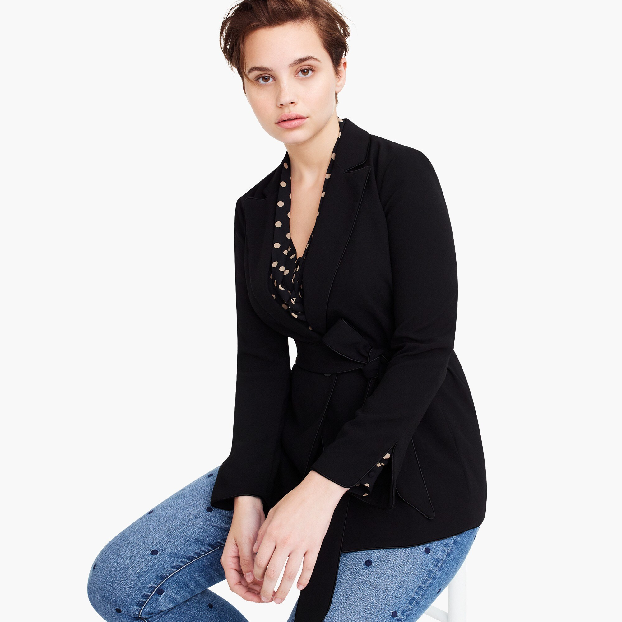 wrap blazer in 365 crepe : women wrap