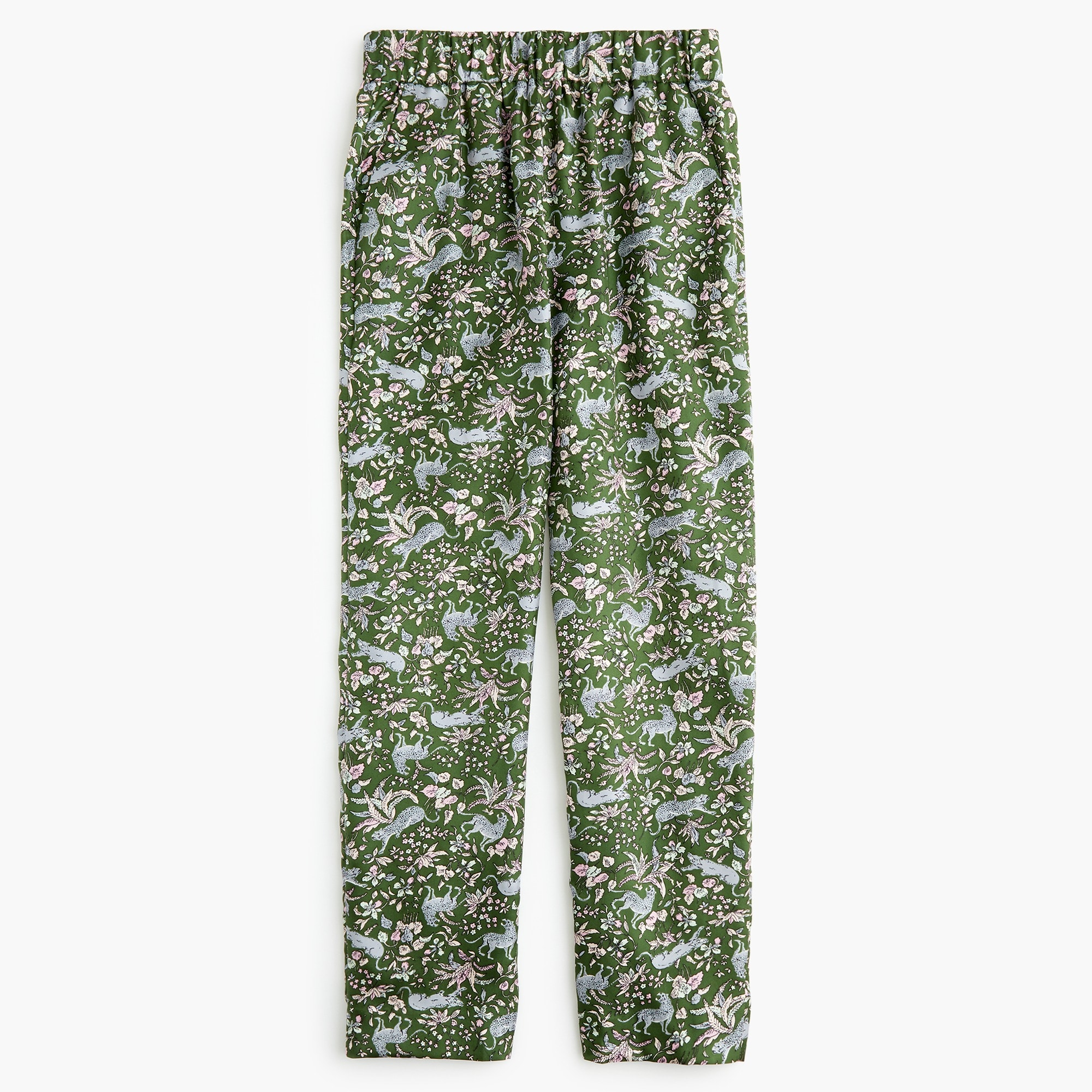 petite pull-on easy pant in printed silk twill : women relaxed