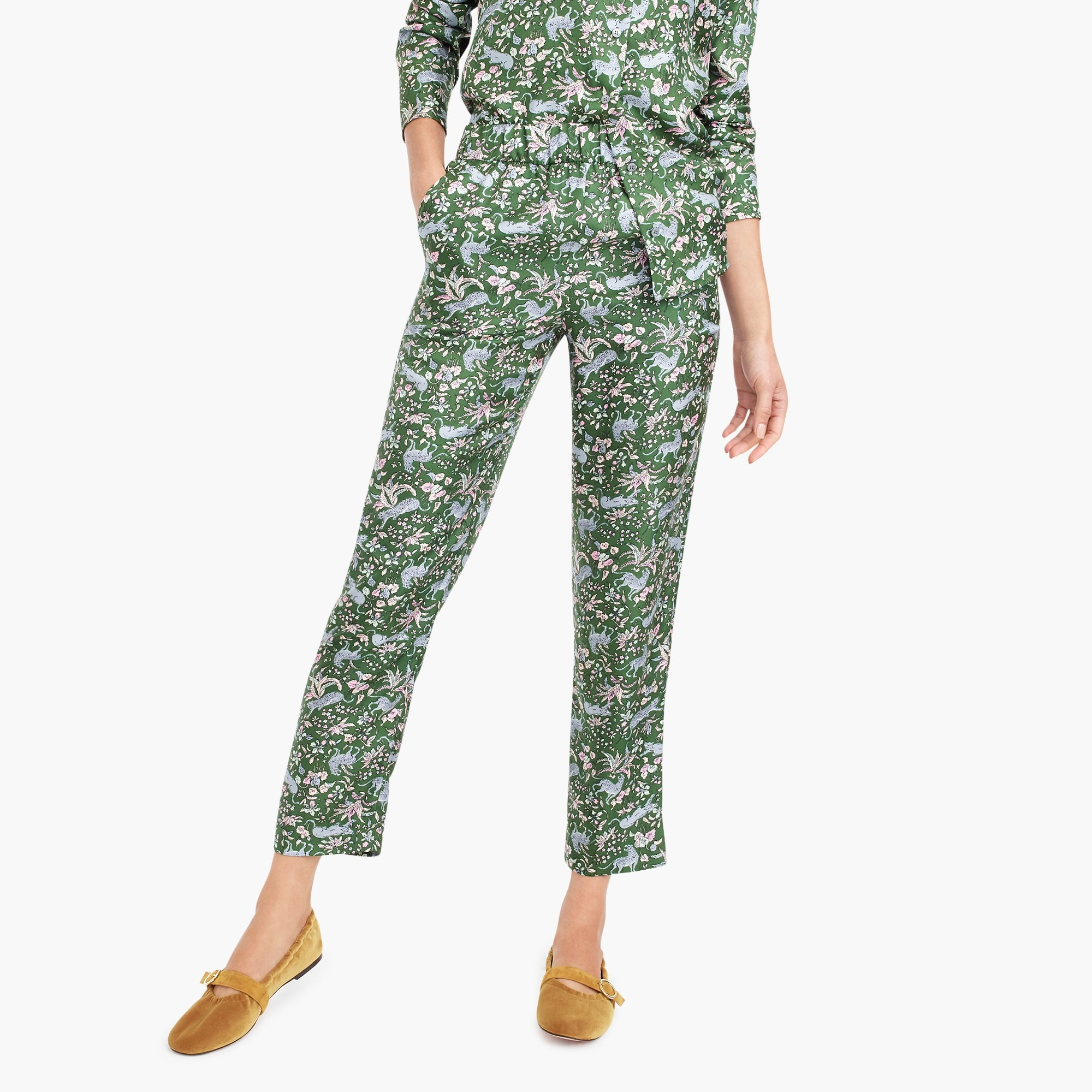 pull-on easy pant in printed silk twill : women relaxed
