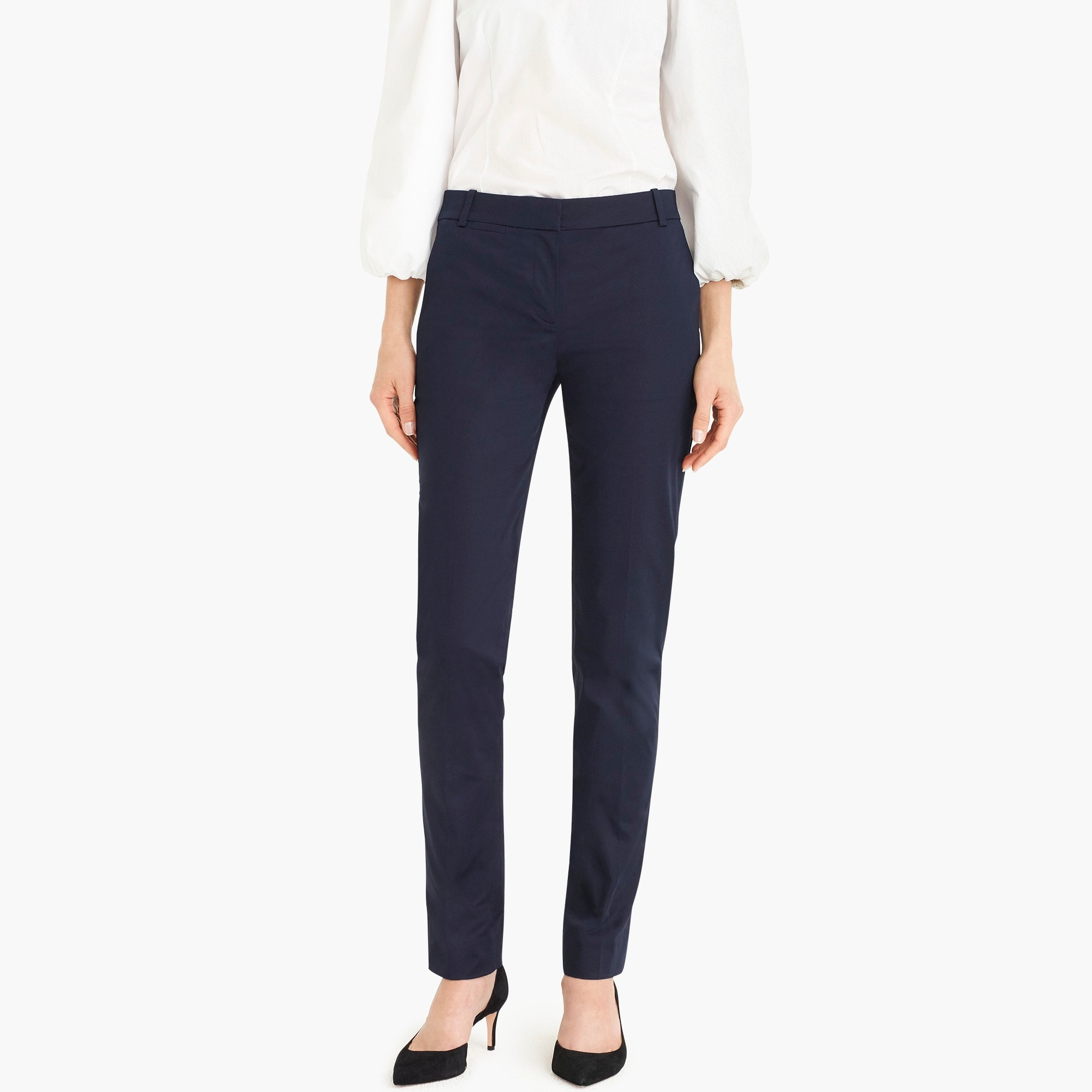 Petite full-length stretch sateen pant