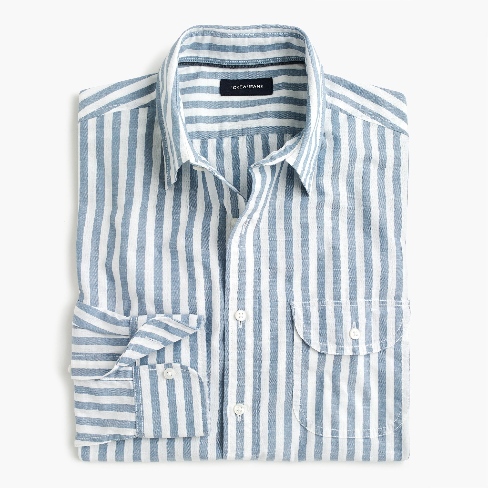 mens Slim slub poplin cotton shirt in stripe