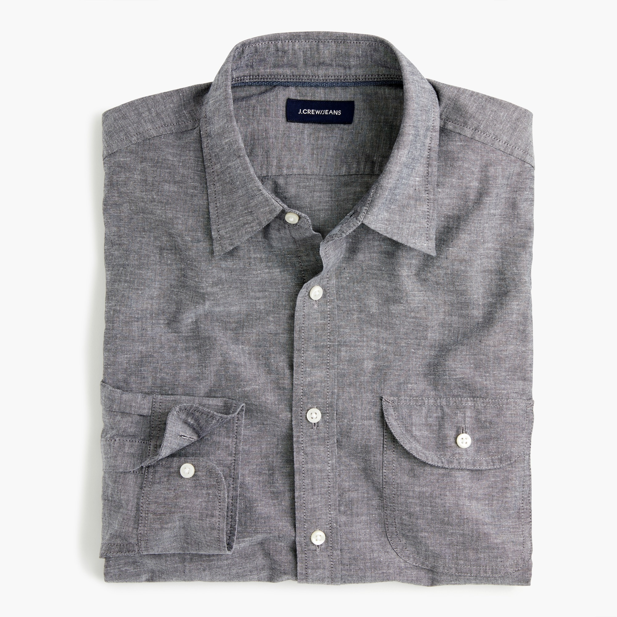 Slim slub poplin cotton shirt