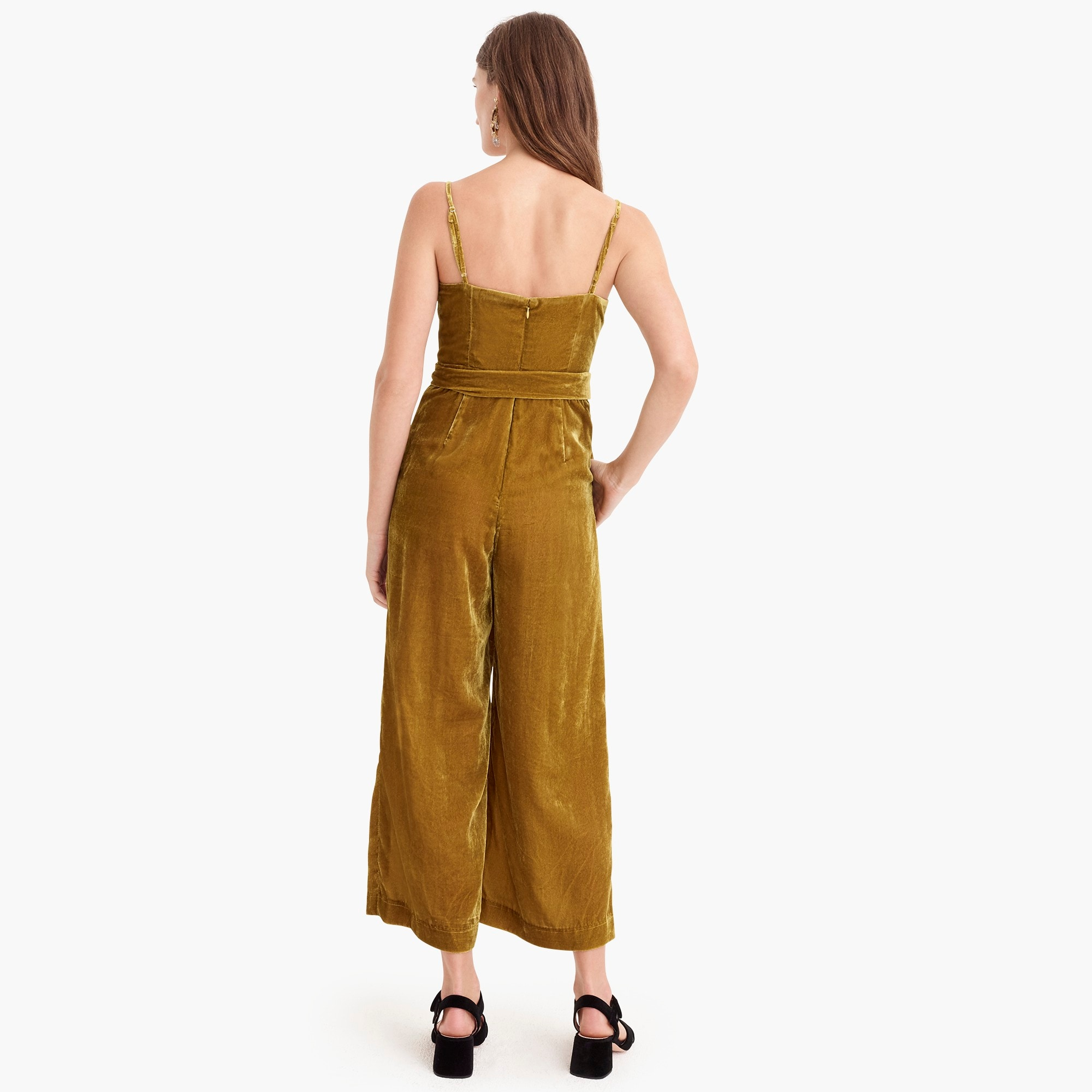 Image 5 for Petite velvet jumpsuit with tie