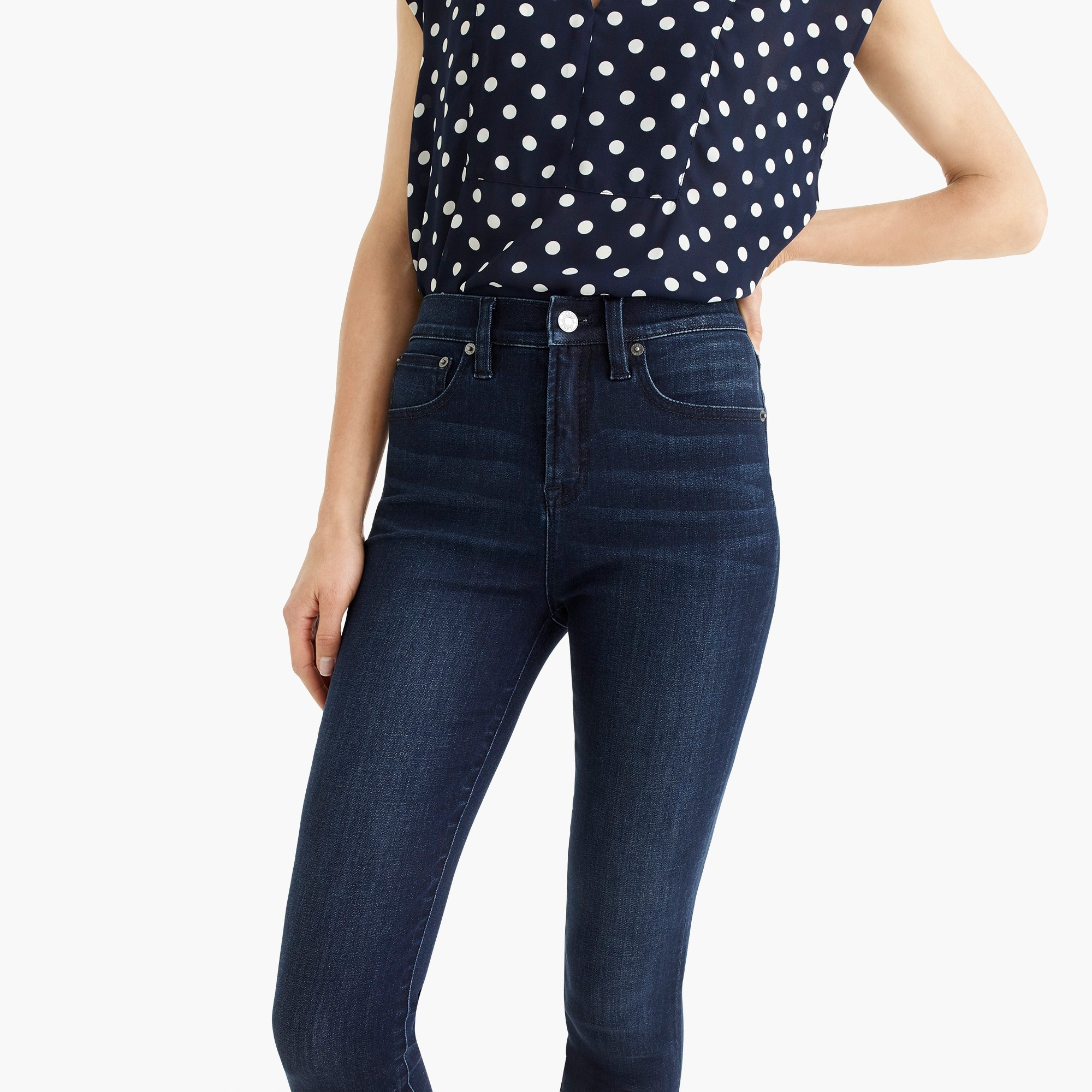 "Image 3 for 10"" highest-rise toothpick jean in deep sea wash with Tencel™"