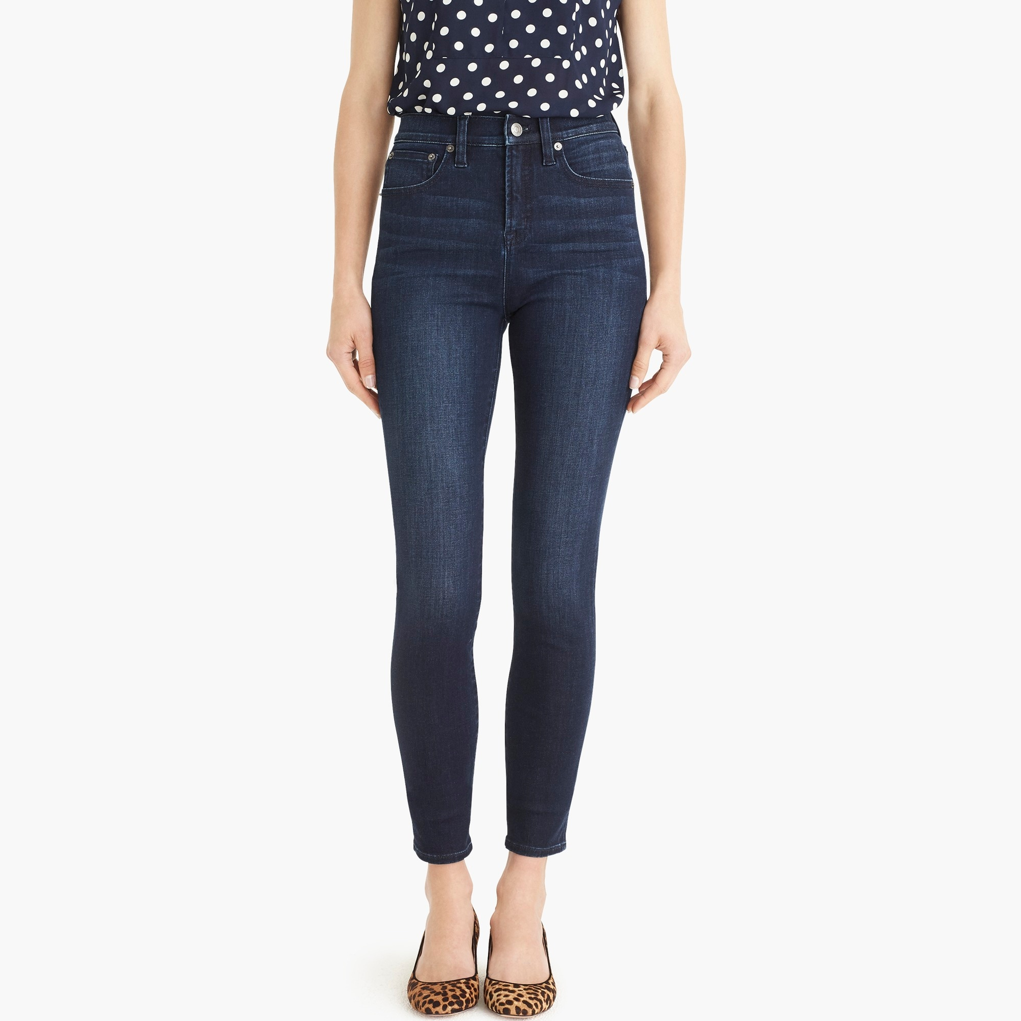 "Image 4 for 10"" highest-rise toothpick jean in deep sea wash with Tencel™"