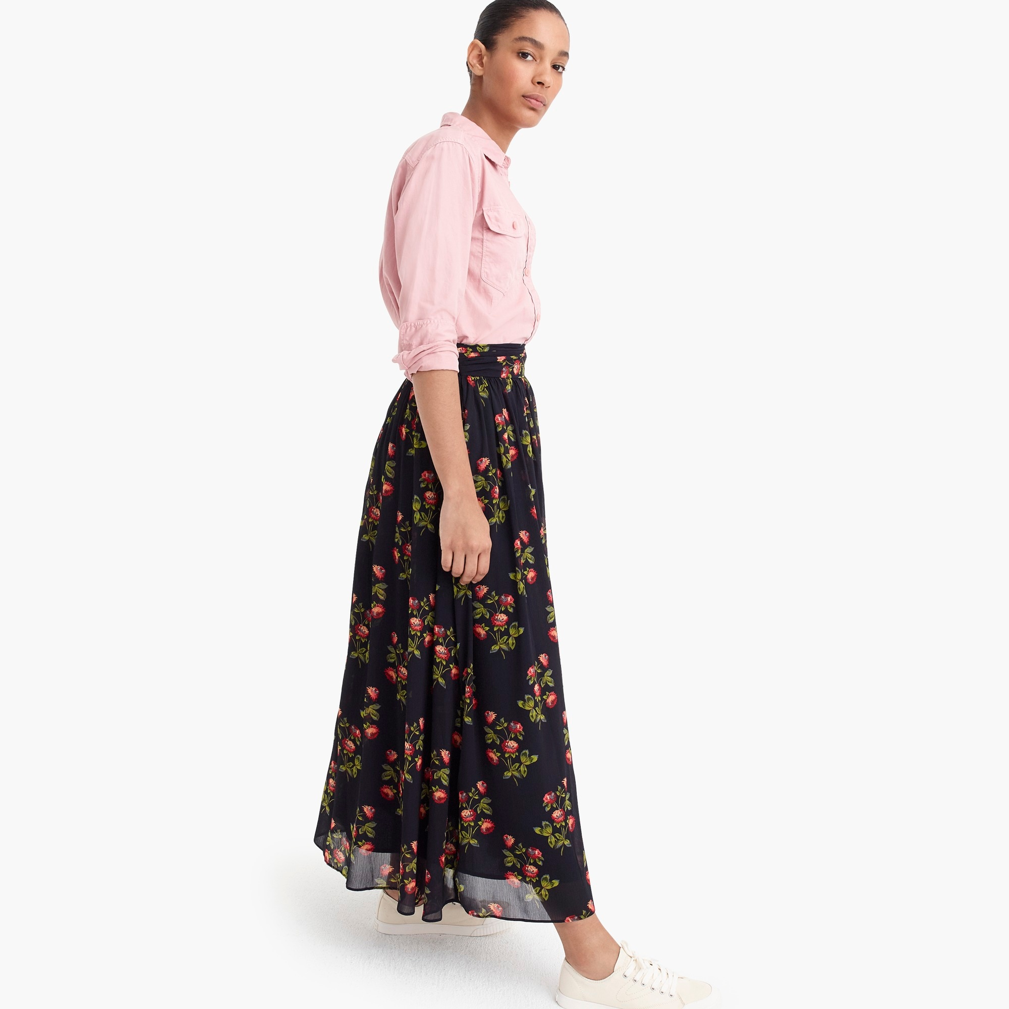 Image 5 for Petite Point Sur floral maxi skirt in crinkle chiffon