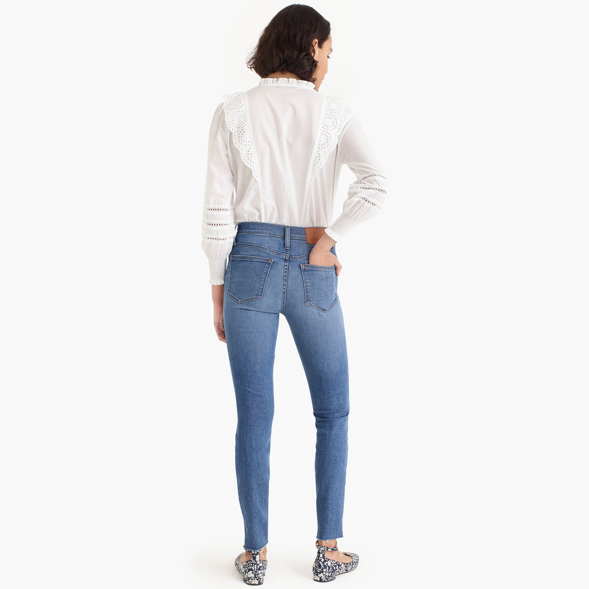 "Image 6 for Petite 9"" high-rise toothpick jean with button fly and cut hems"