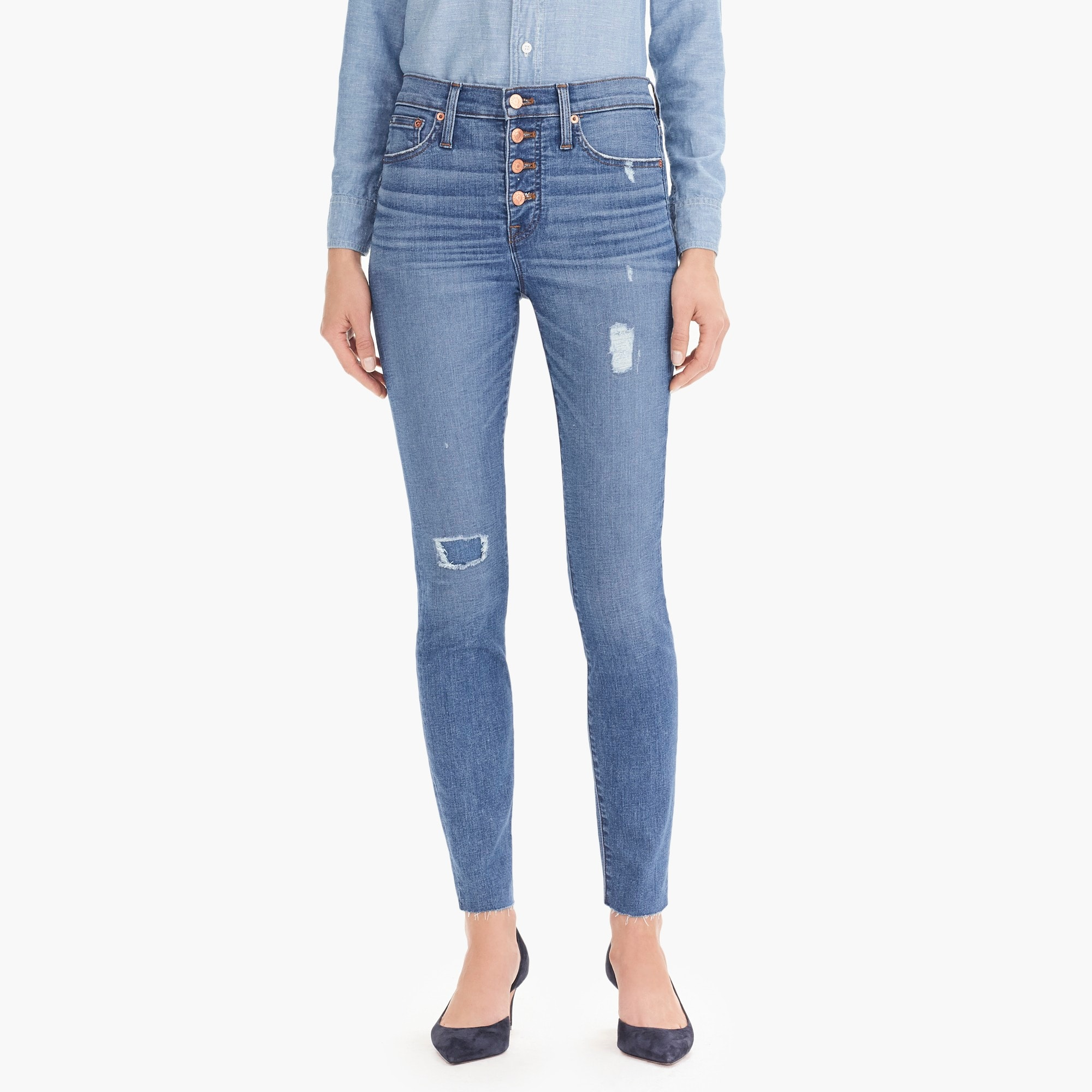 "womens 9"" high-rise toothpick jean with exposed buttons and cut hems"