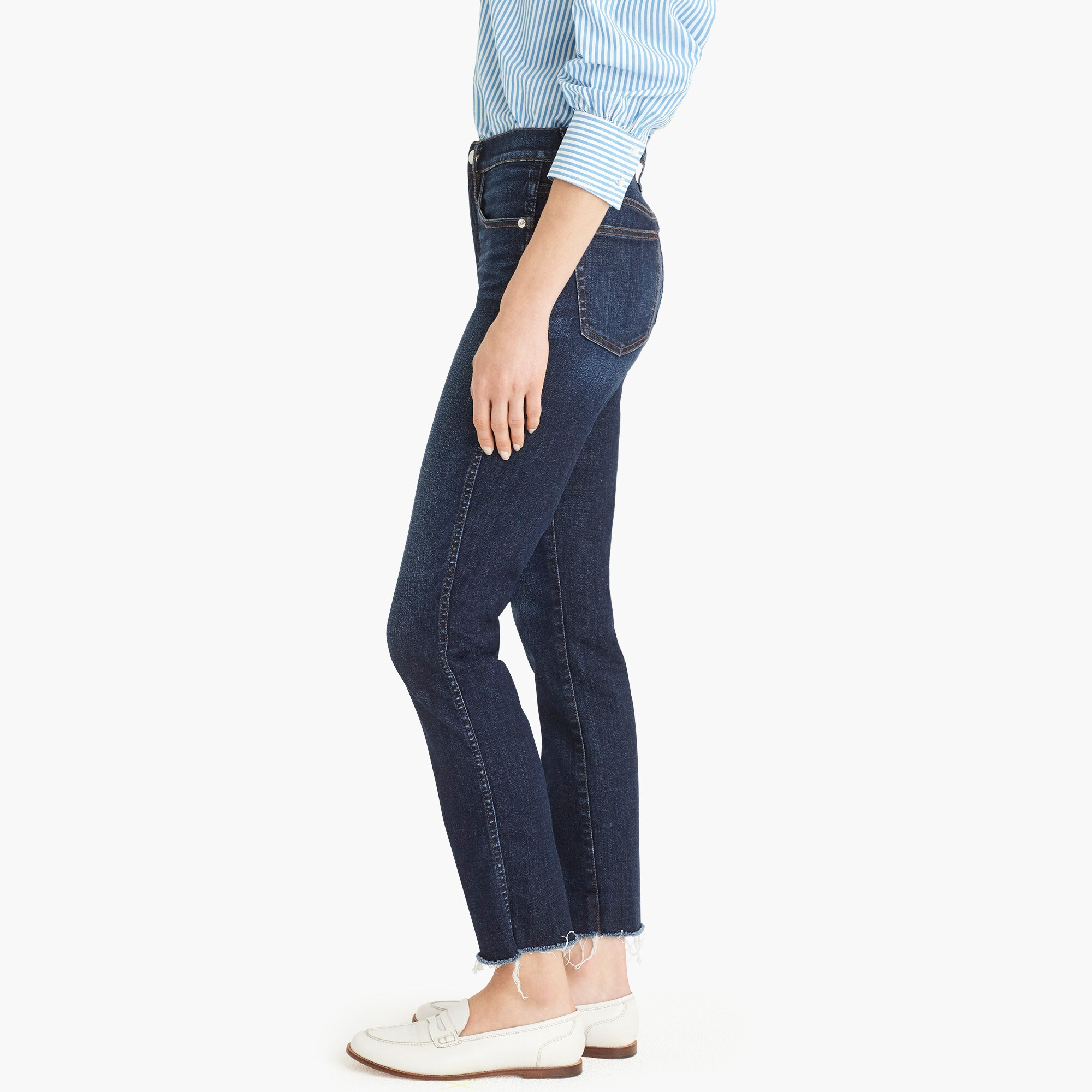 Vintage straight jean in faded midnight with raw hems