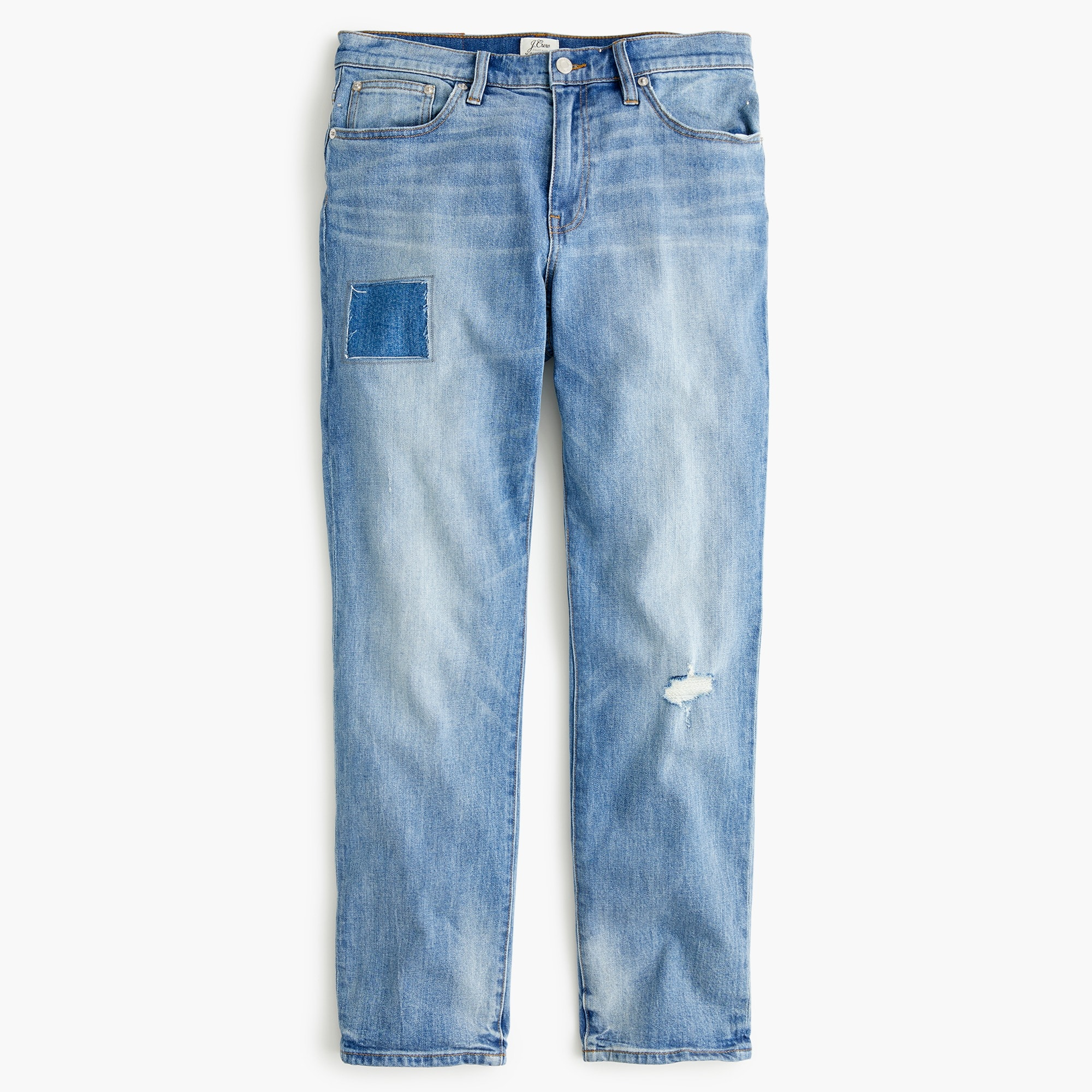 women's petite slim boyfriend jean with patch and distressing - women's denim