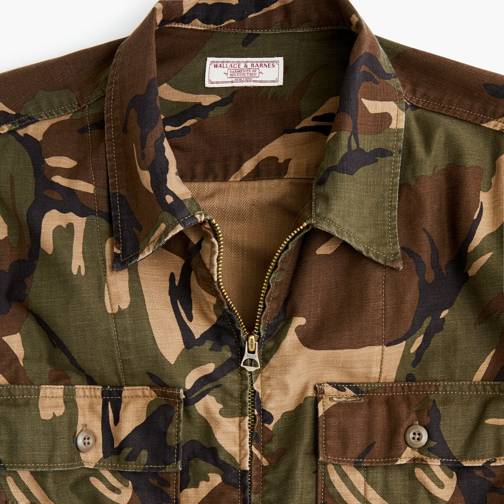 mens Wallace & Barnes zip-front twill shirt-jacket in camo