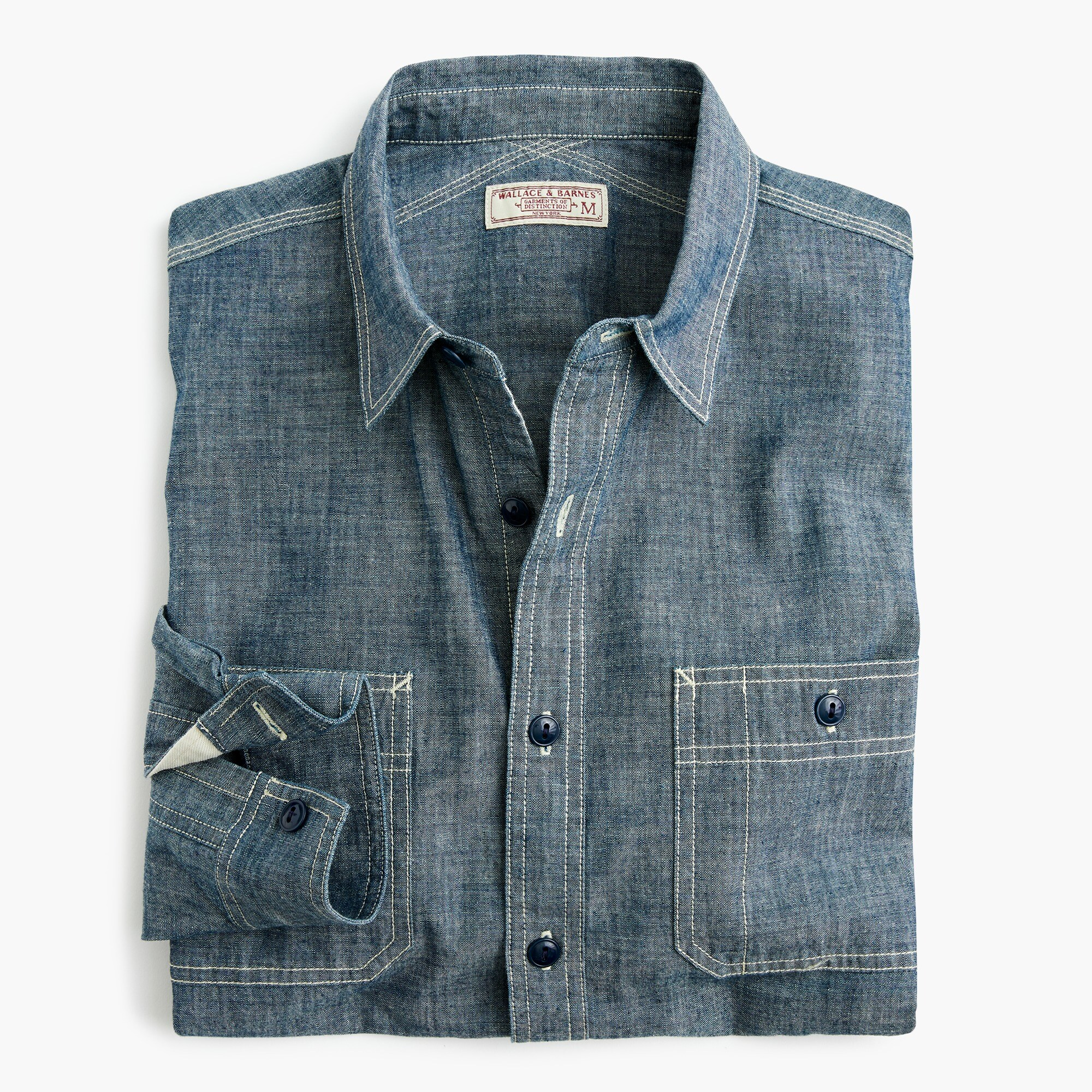 mens Wallace & Barnes shirt in Japanese chambray