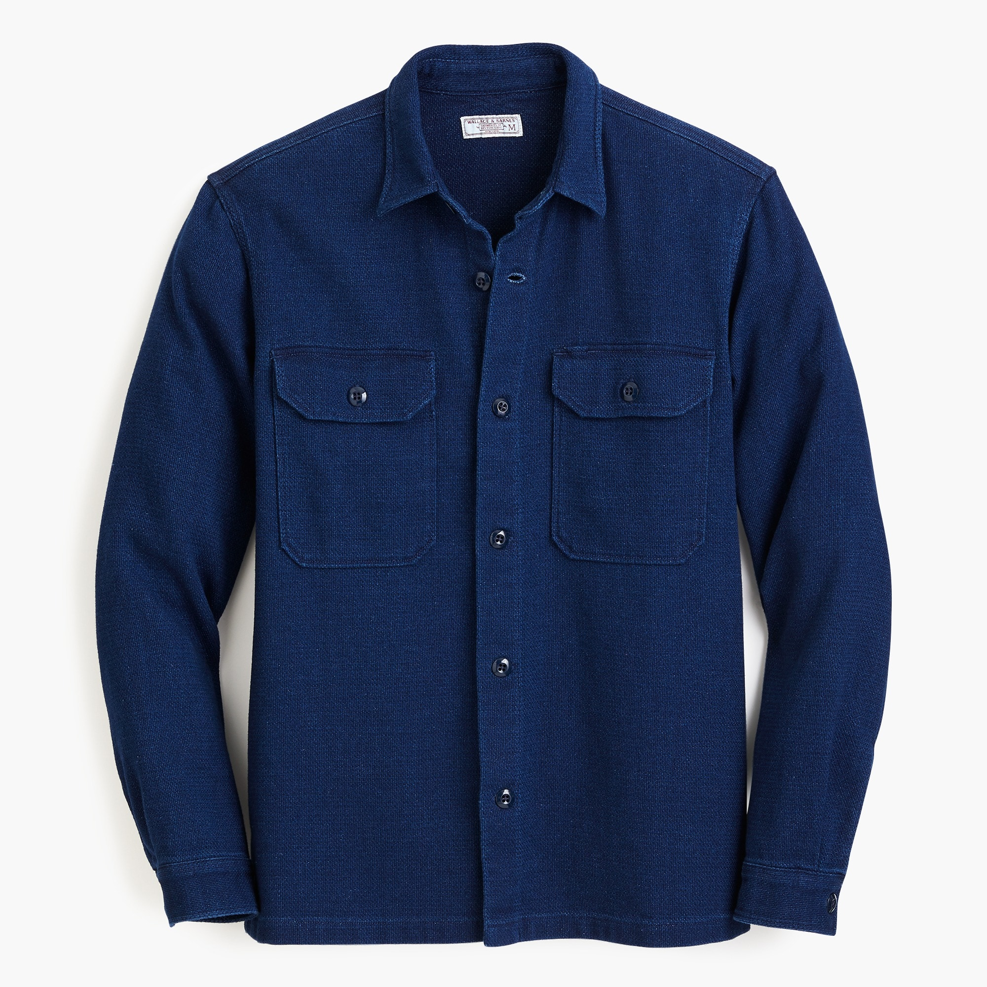 mens Wallace & Barnes dobby shirt in true indigo