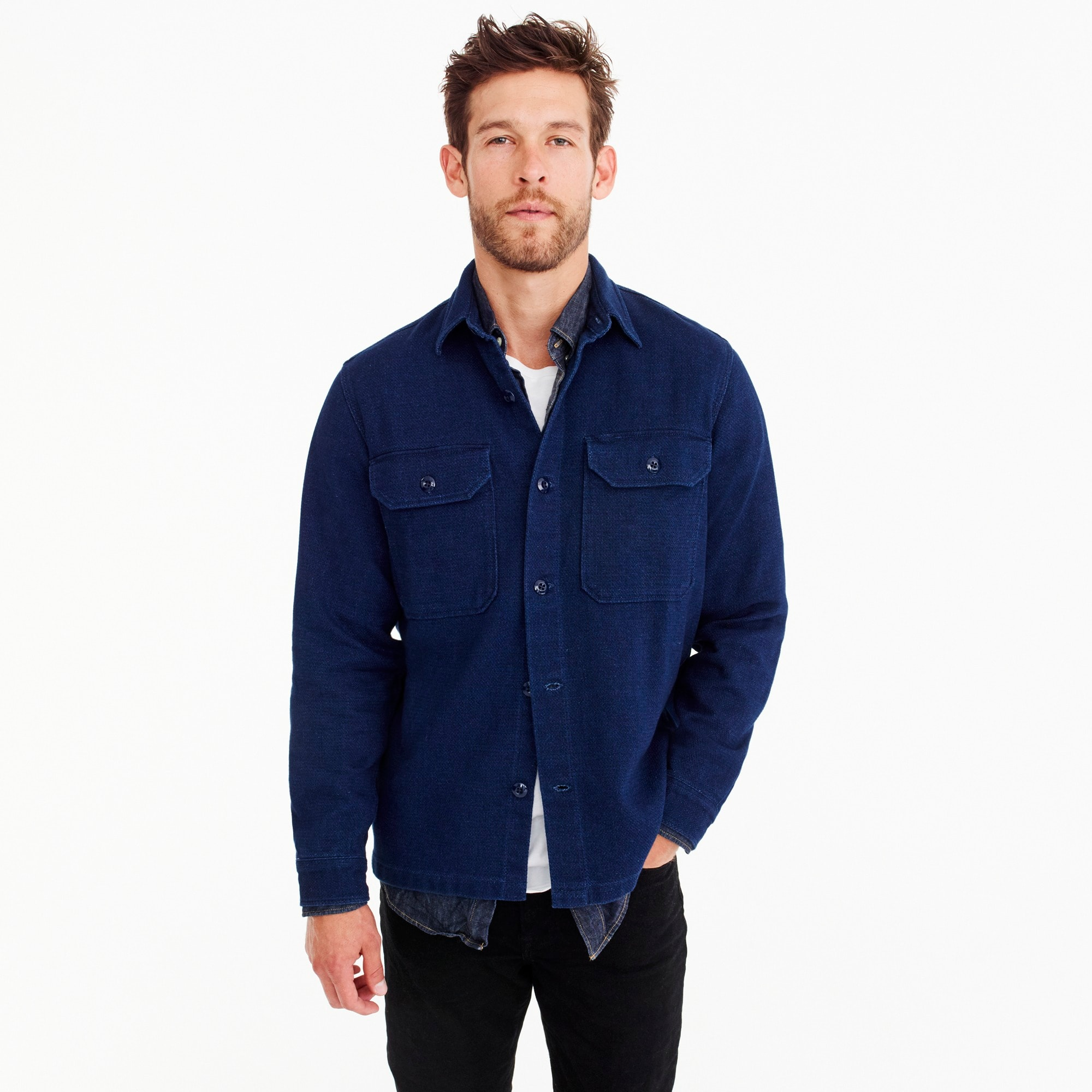 wallace & barnes dobby shirt in true indigo : men shirts