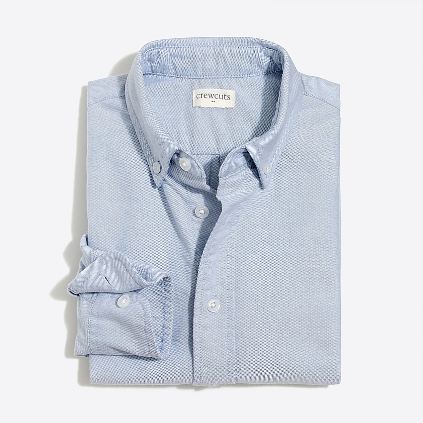 j.crew factory: boys' long-sleeve stretch oxford shirt, right side, view zoomed
