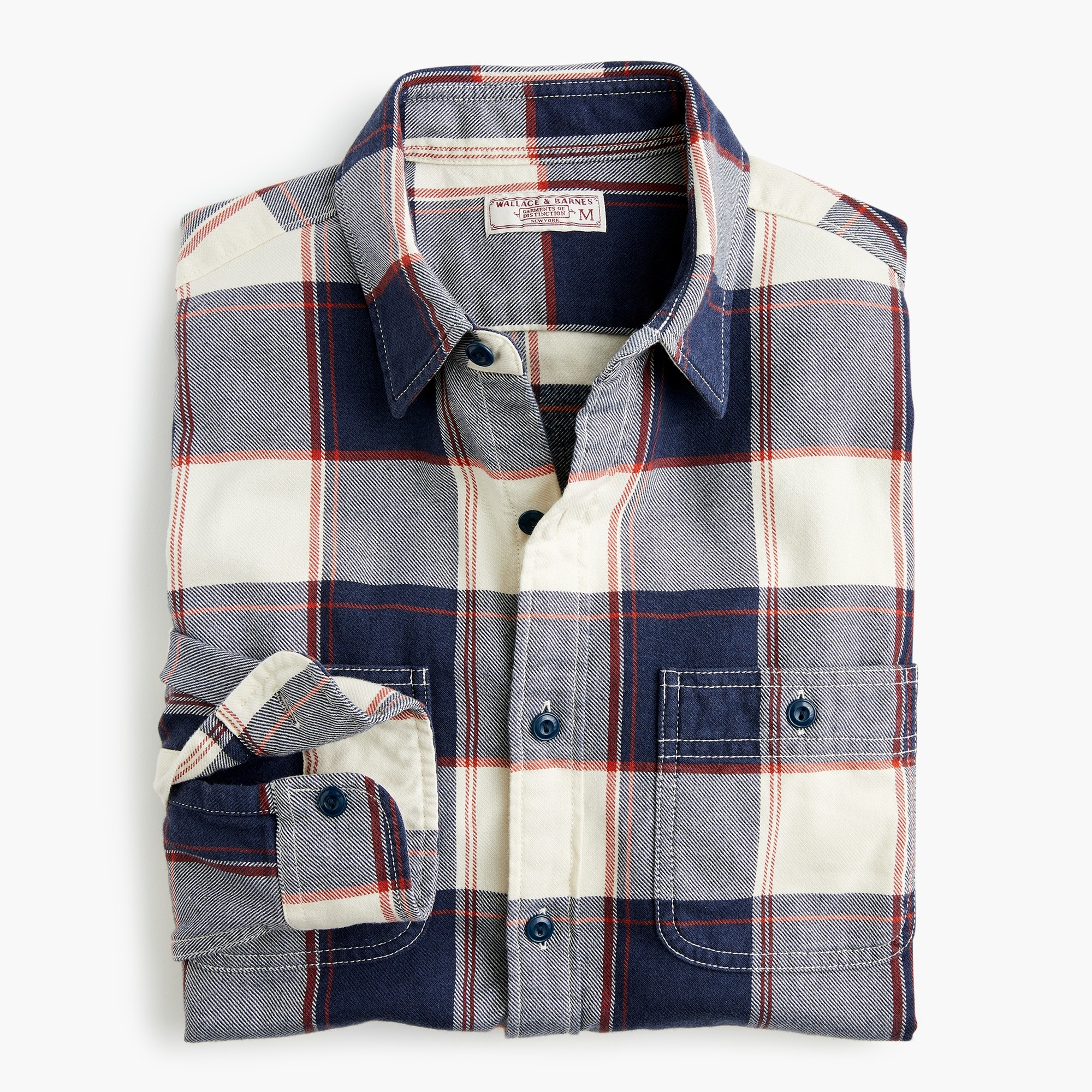 mens Slim Wallace & Barnes midweight flannel shirt in bold stripe plaid