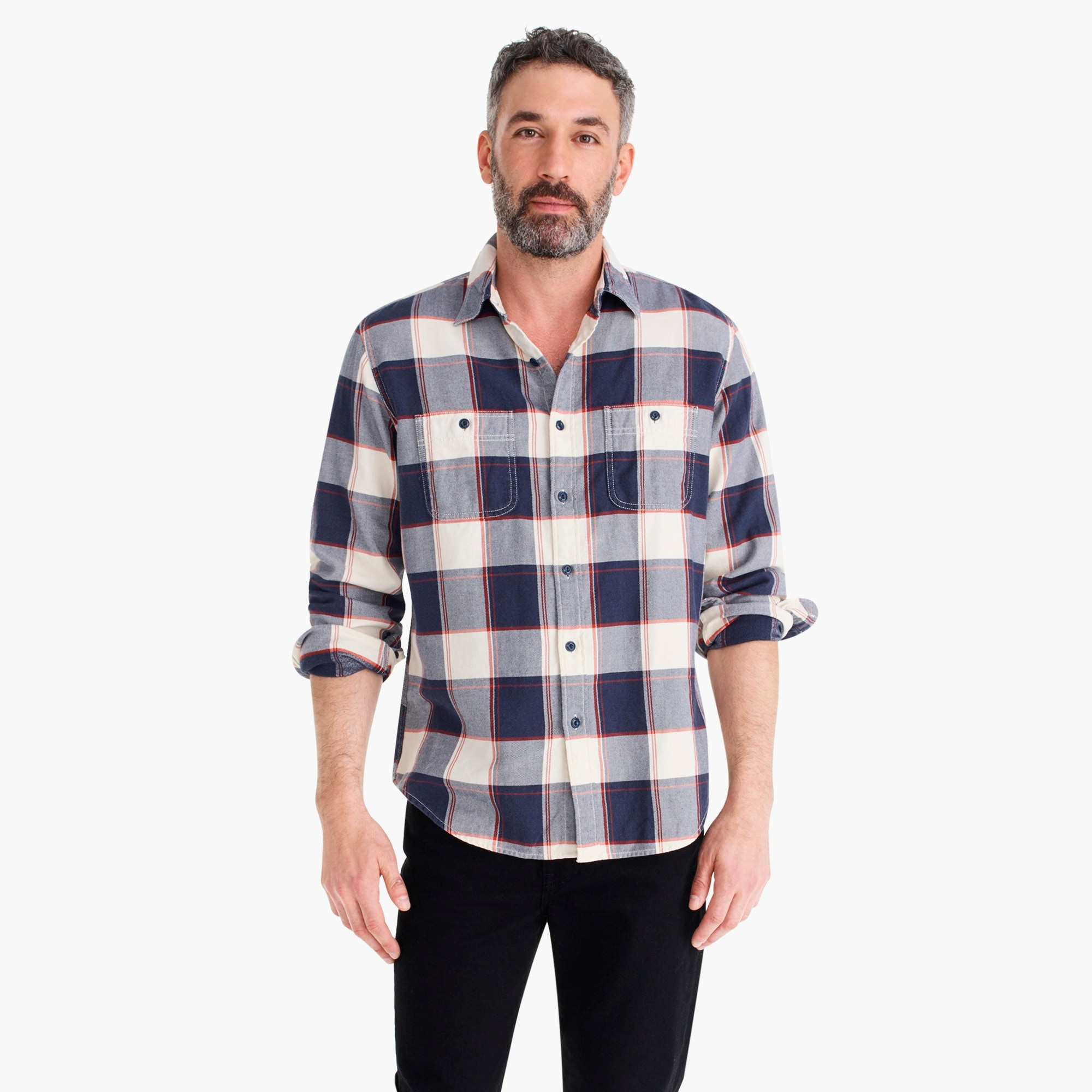 Slim Wallace & Barnes midweight flannel shirt in bold stripe plaid