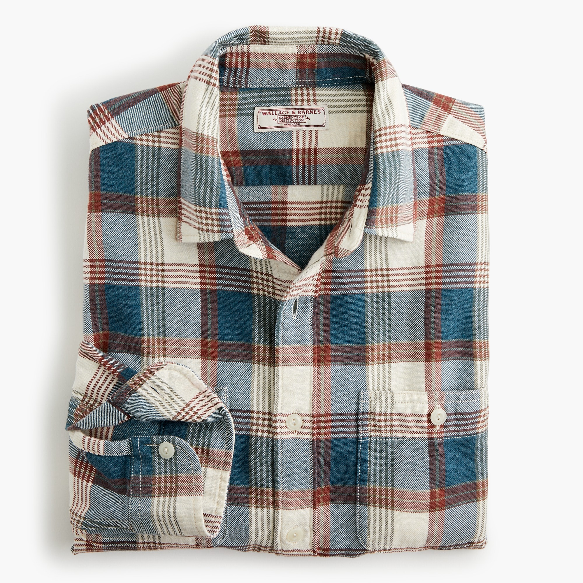 mens Wallace & Barnes midweight flannel shirt in rustic plaid