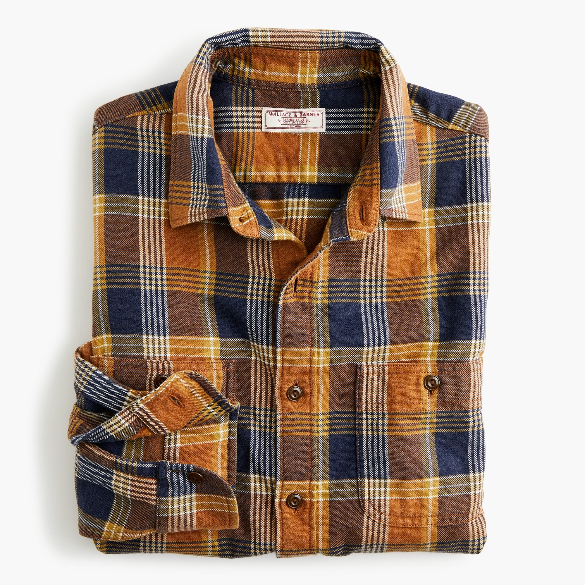 mens Slim Wallace & Barnes midweight flannel shirt in rustic plaid