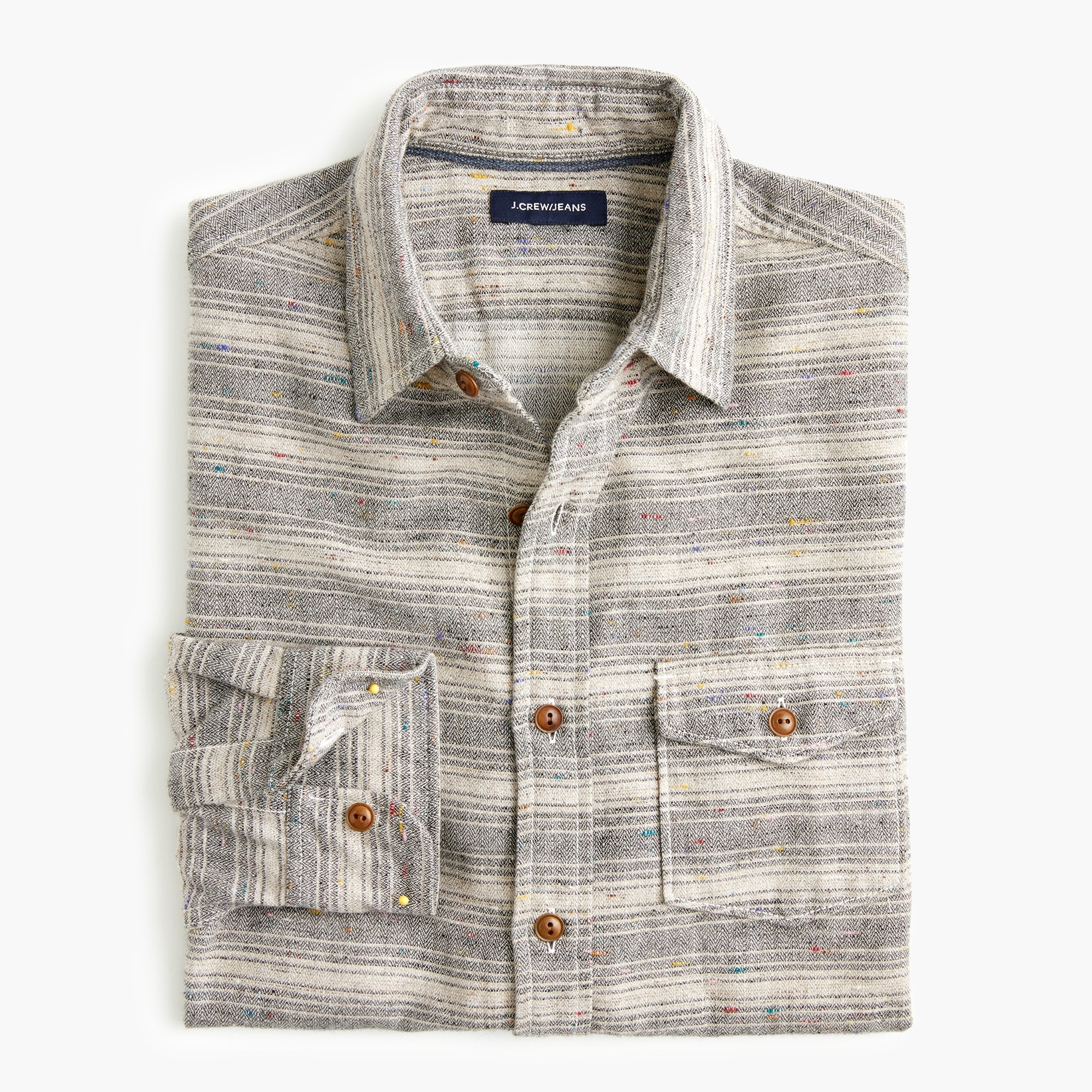 mens Slim Japanese slub herringbone shirt