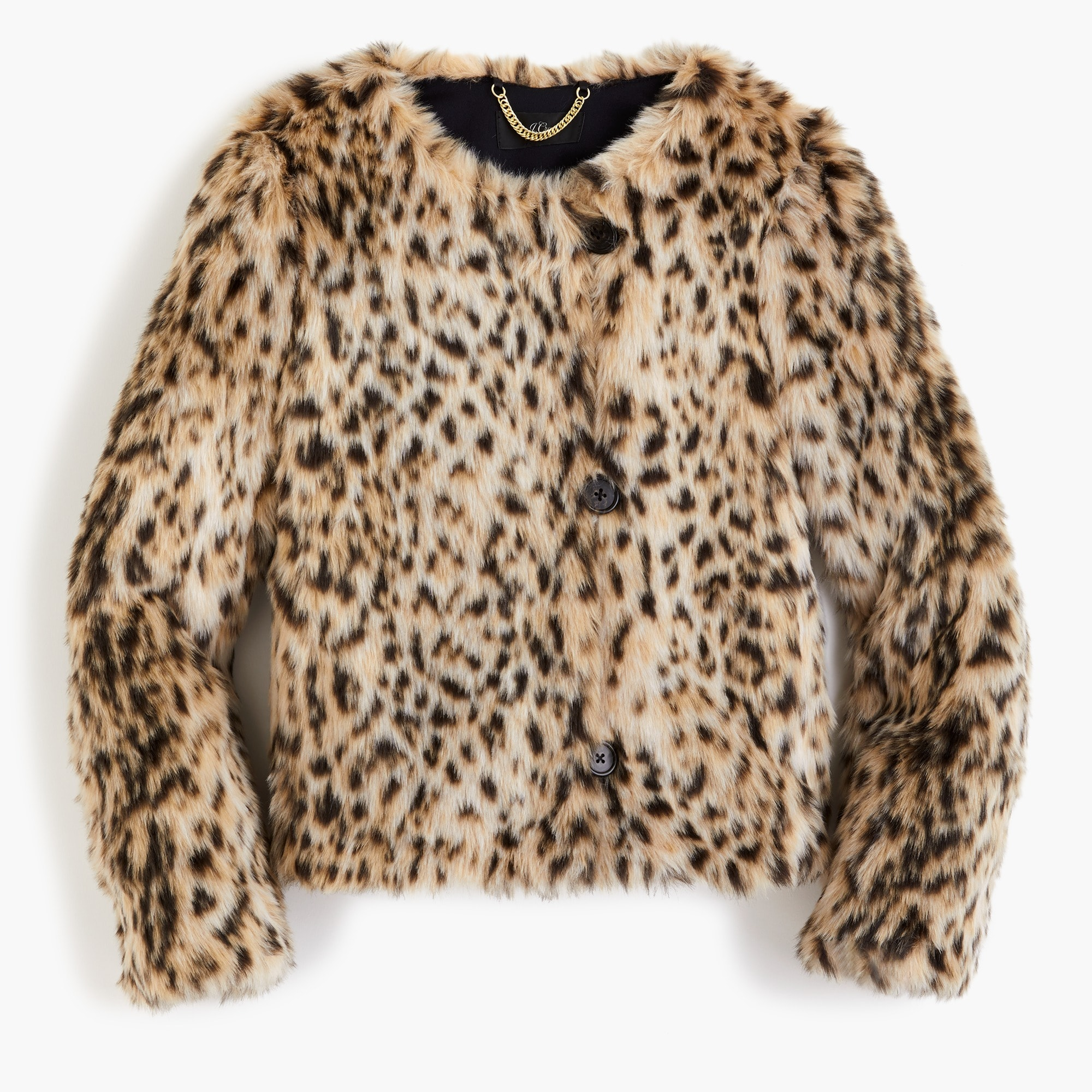 Image 1 for Cropped faux-fur coat in snow leopard