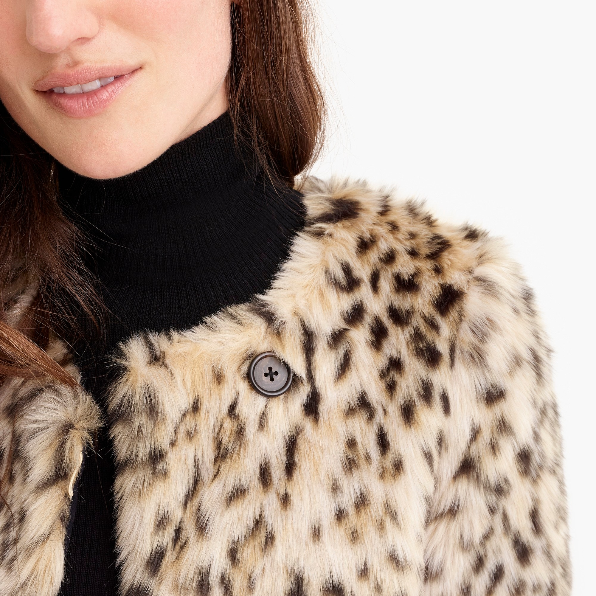 Image 2 for Cropped faux-fur coat in snow leopard