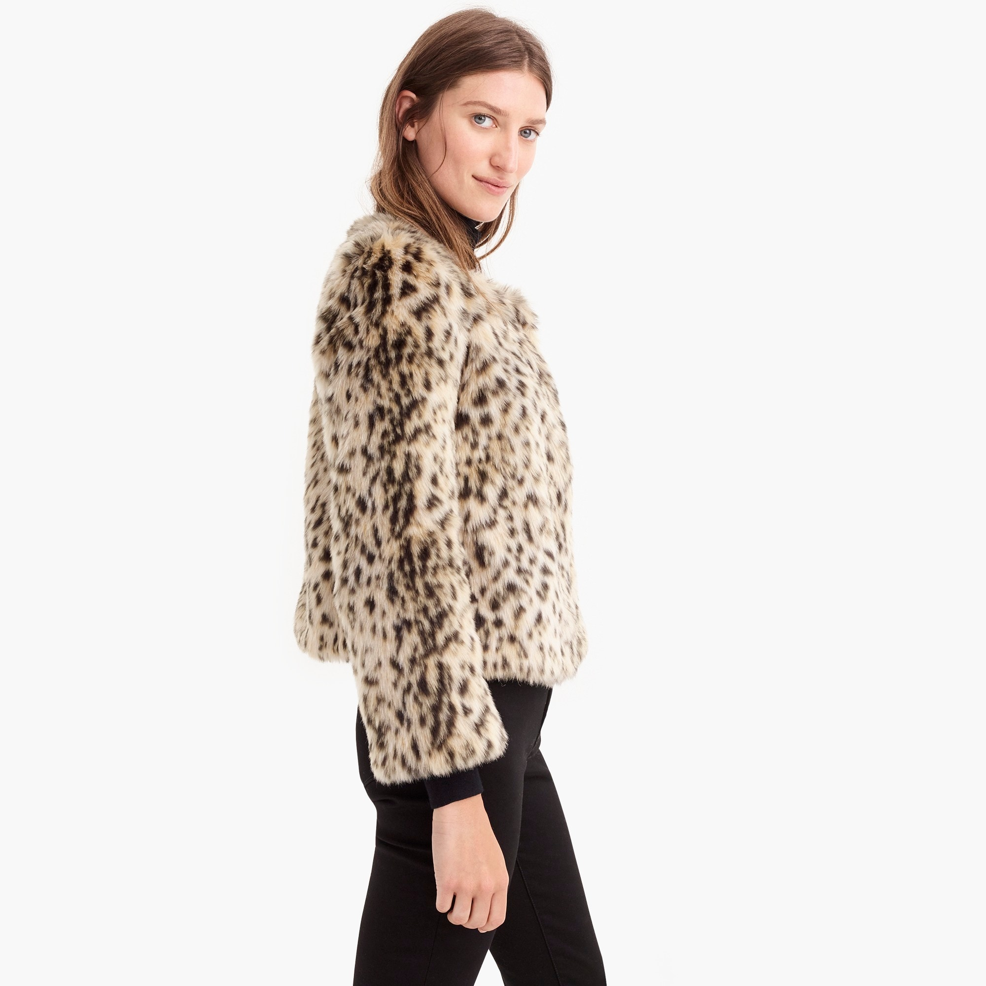 Cropped faux-fur coat in snow leopard