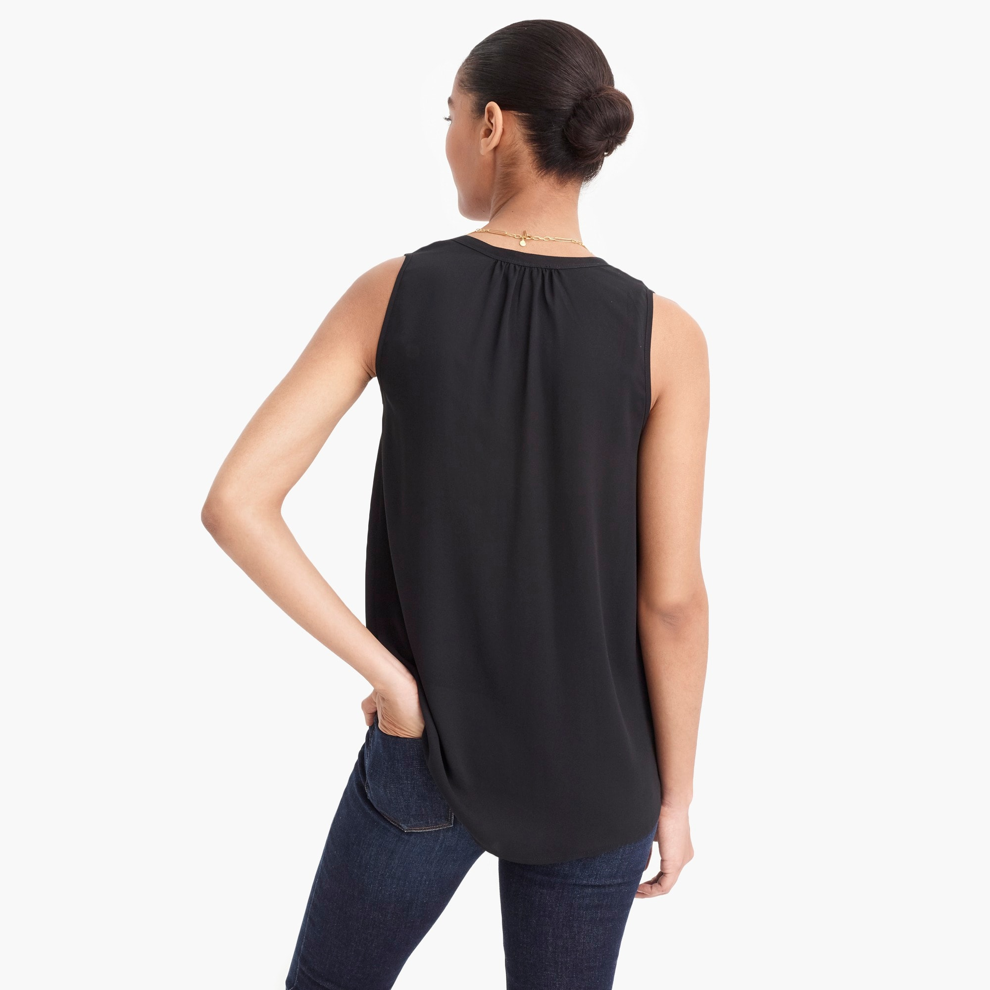 Petite sleeveless open V-neck top