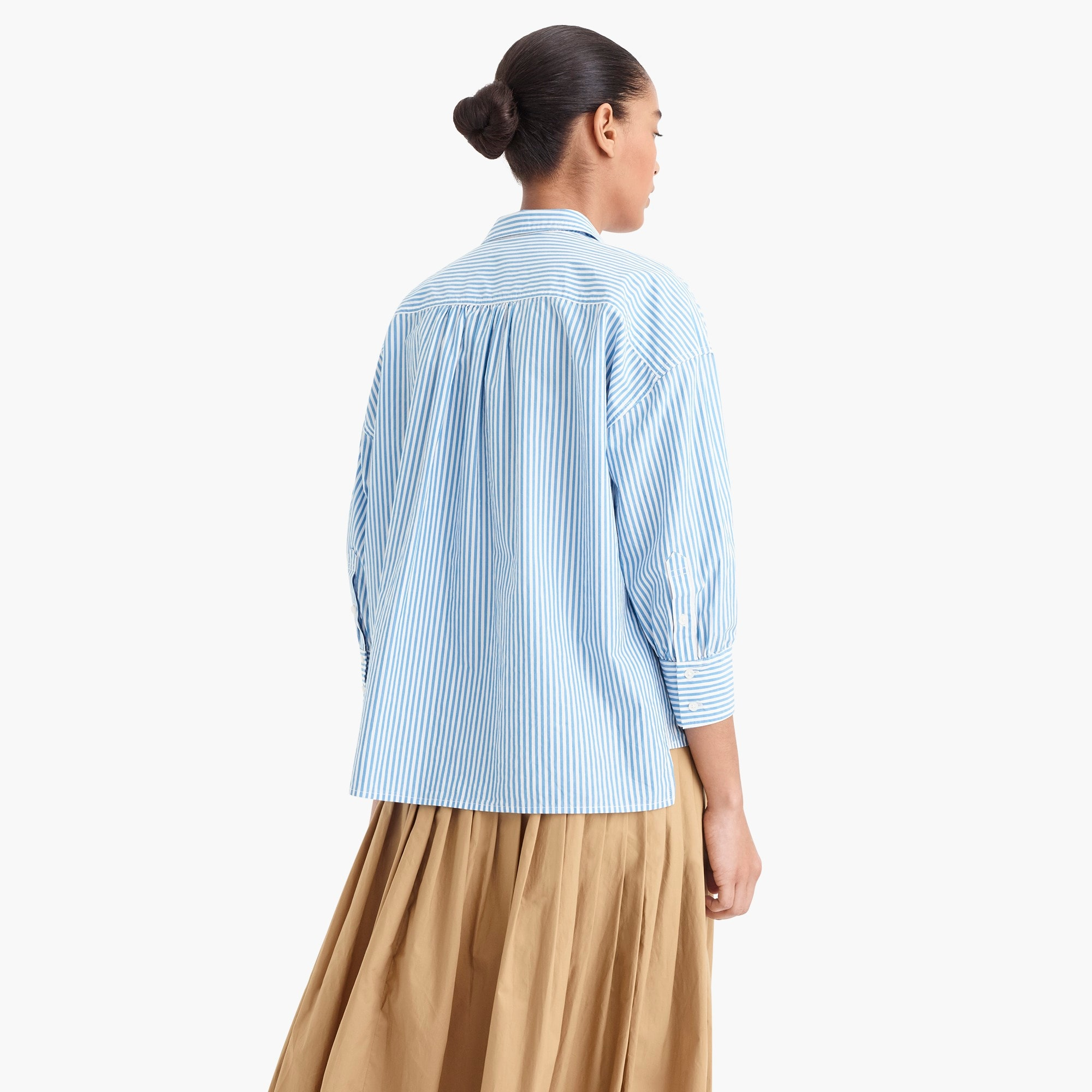 Image 5 for Oversized button-up in cotton poplin stripe