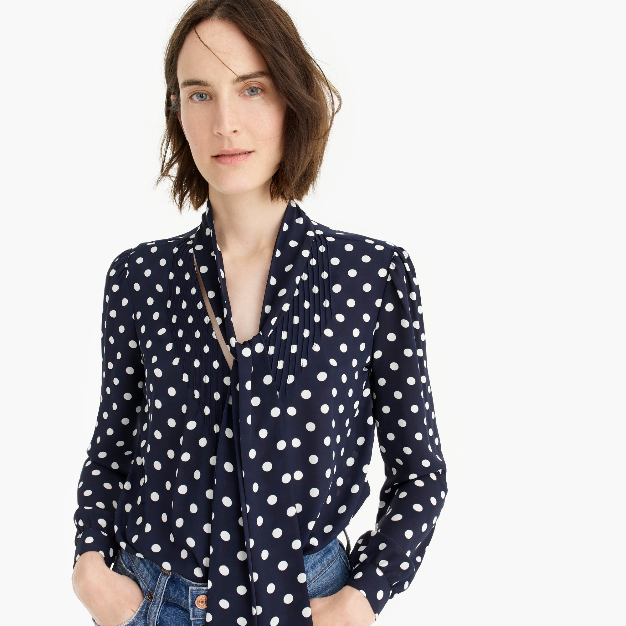 womens Drapey tie-neck top in polka dot