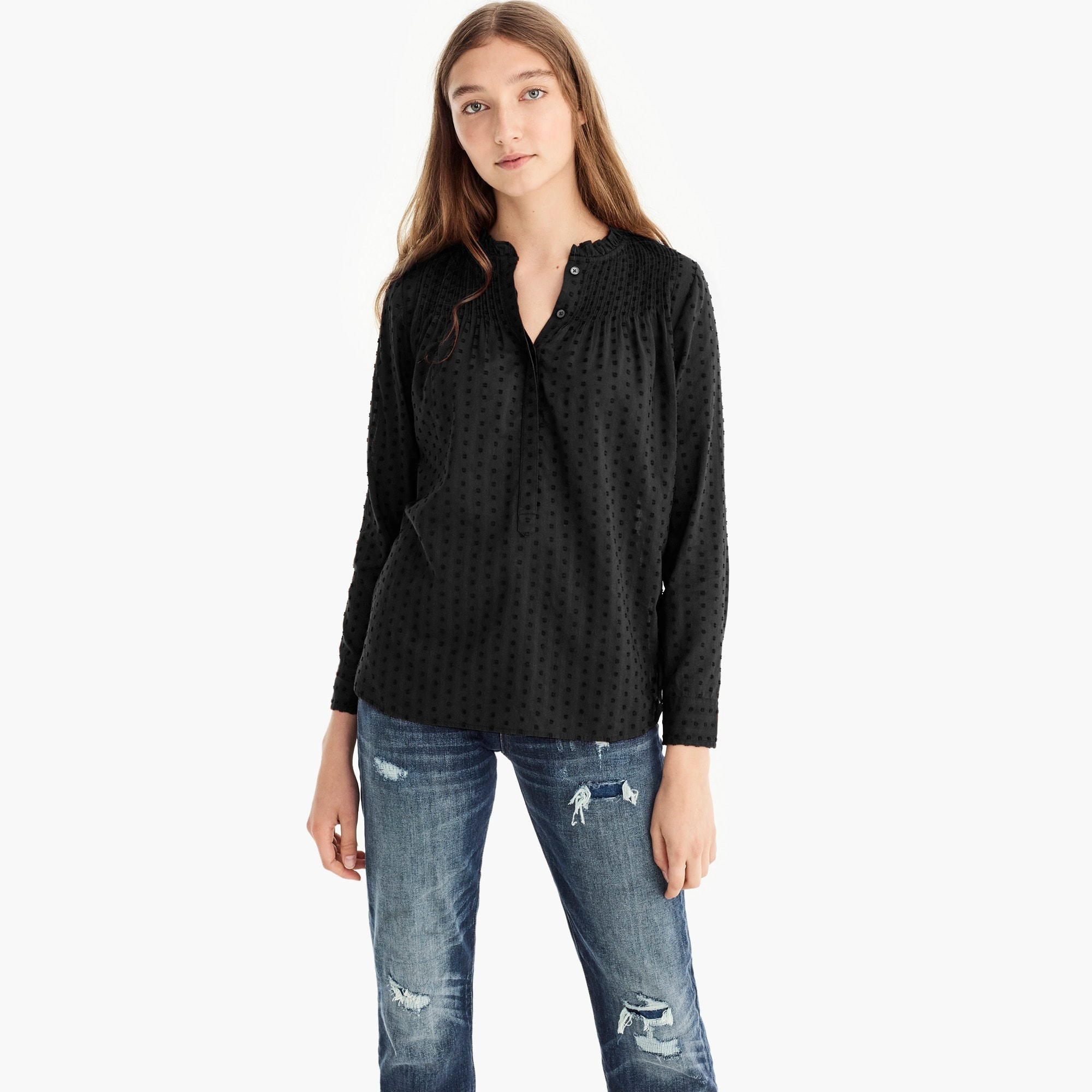 womens Point Sur ruffle classic popover shirt in clip dot