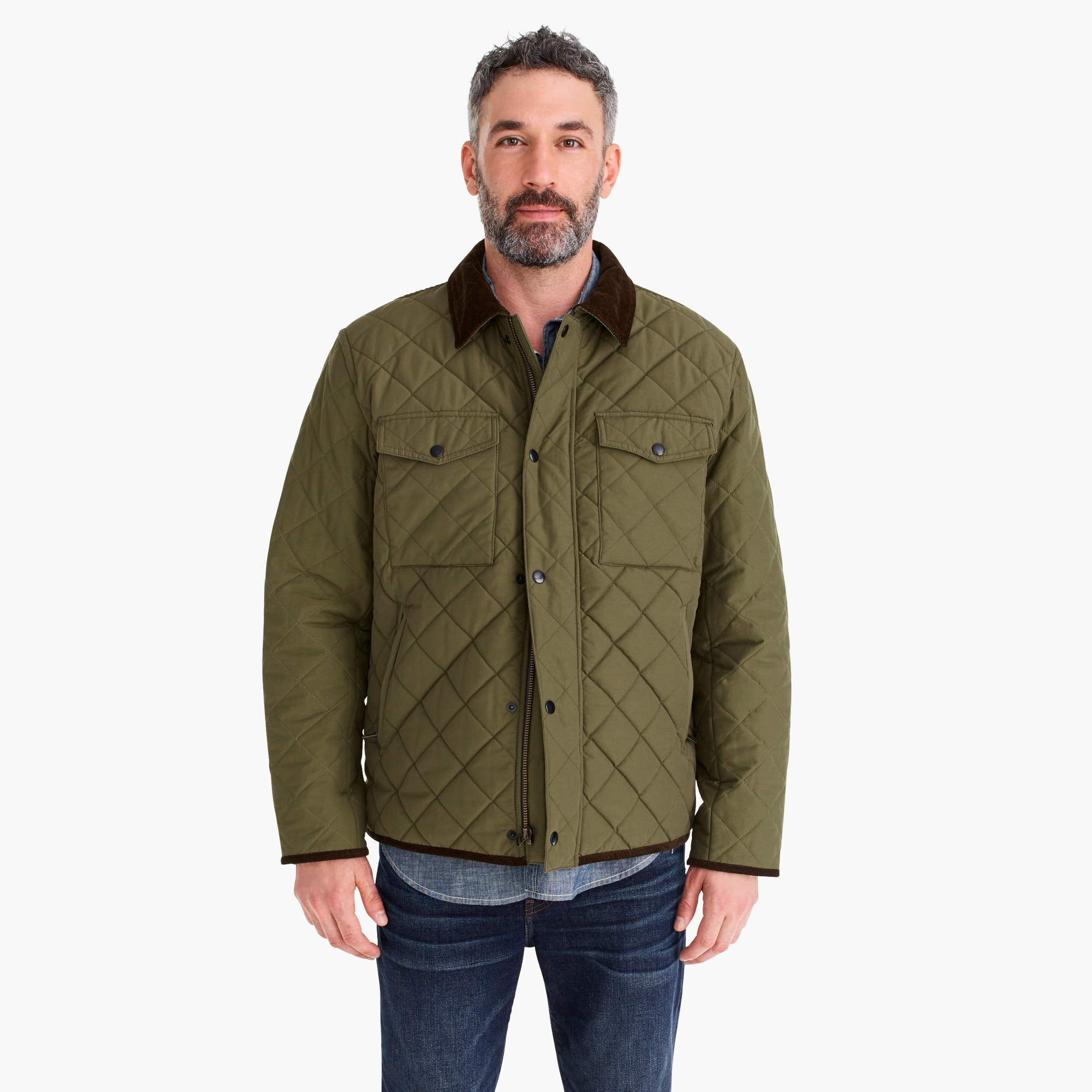 mens Sussex quilted jacket with corduroy collar