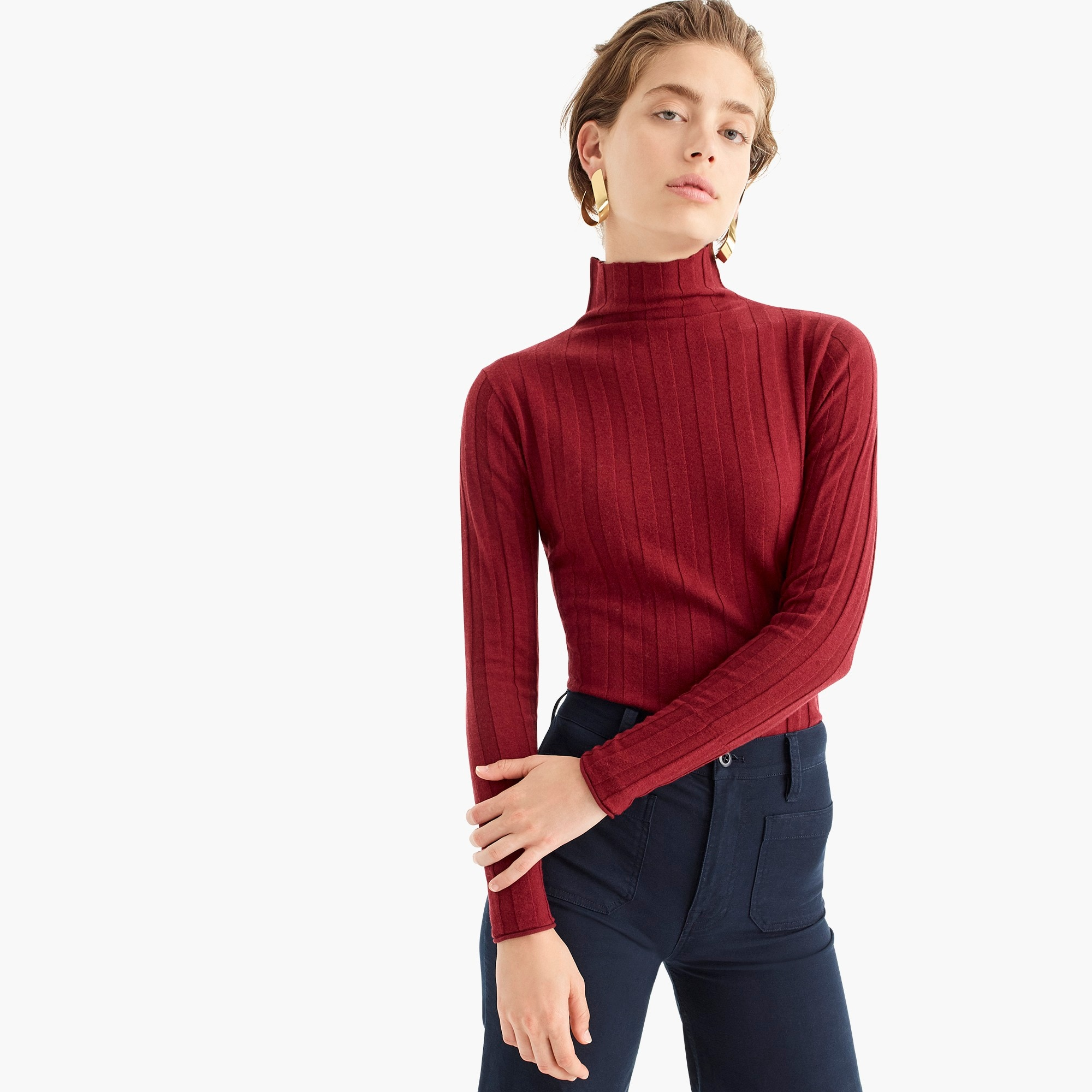 womens J.Crew 365 stretch turtleneck ribbed sweater