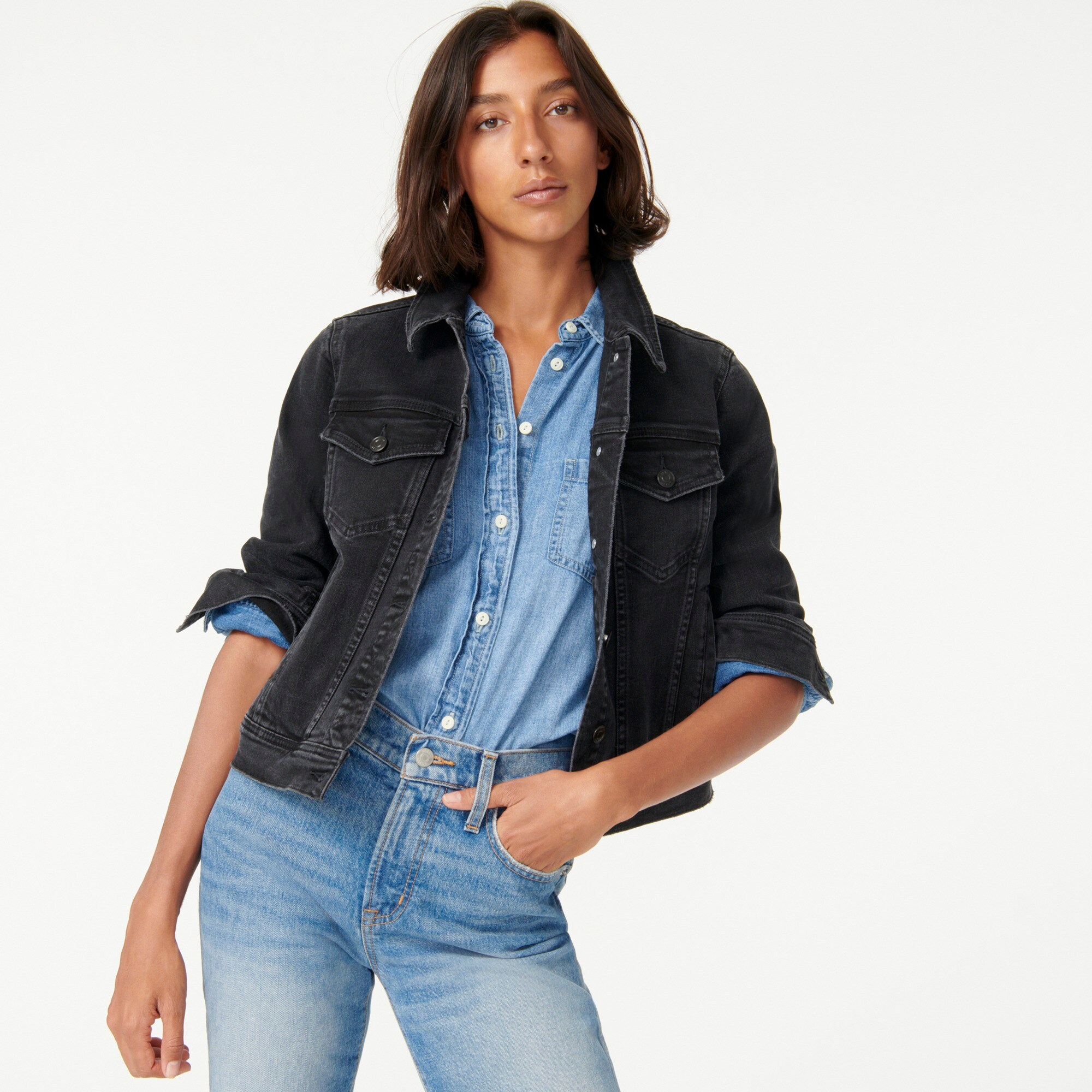 Image 4 for Petite classic denim jacket in black