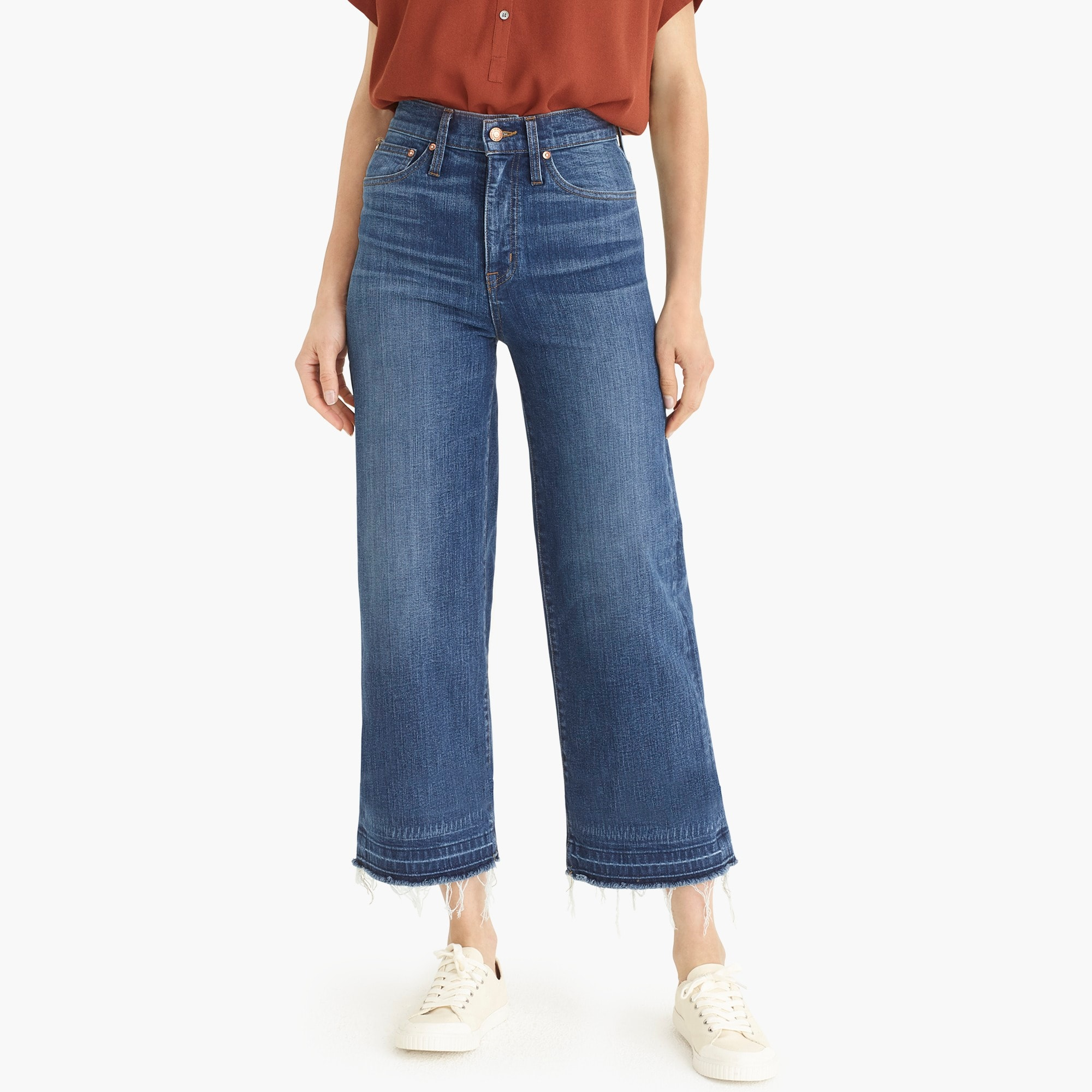 Image 4 for Point Sur wide-leg crop jean with let-down hem