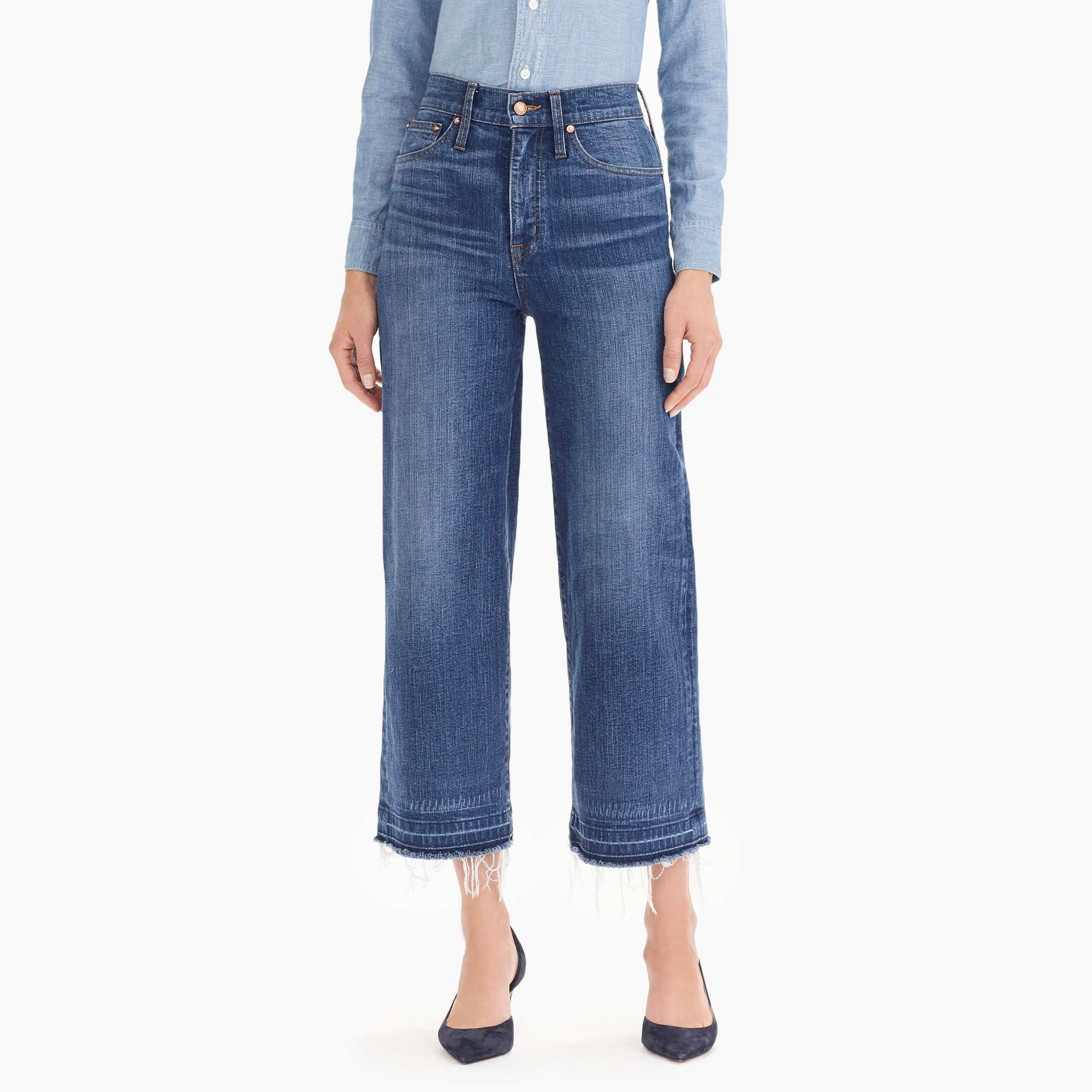womens Point Sur wide-leg crop jean with let-down hem