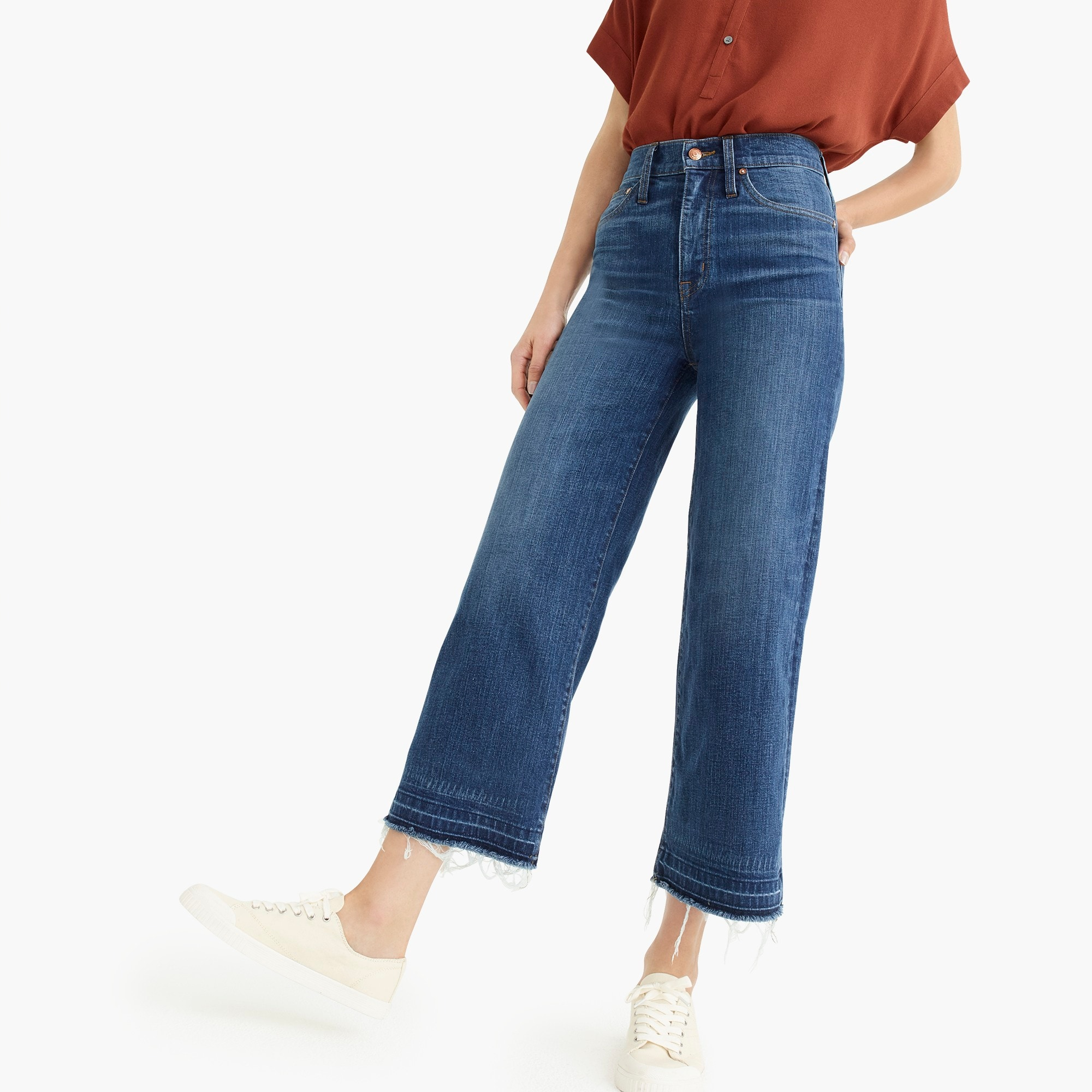 Image 1 for Point Sur wide-leg crop jean with let-down hem