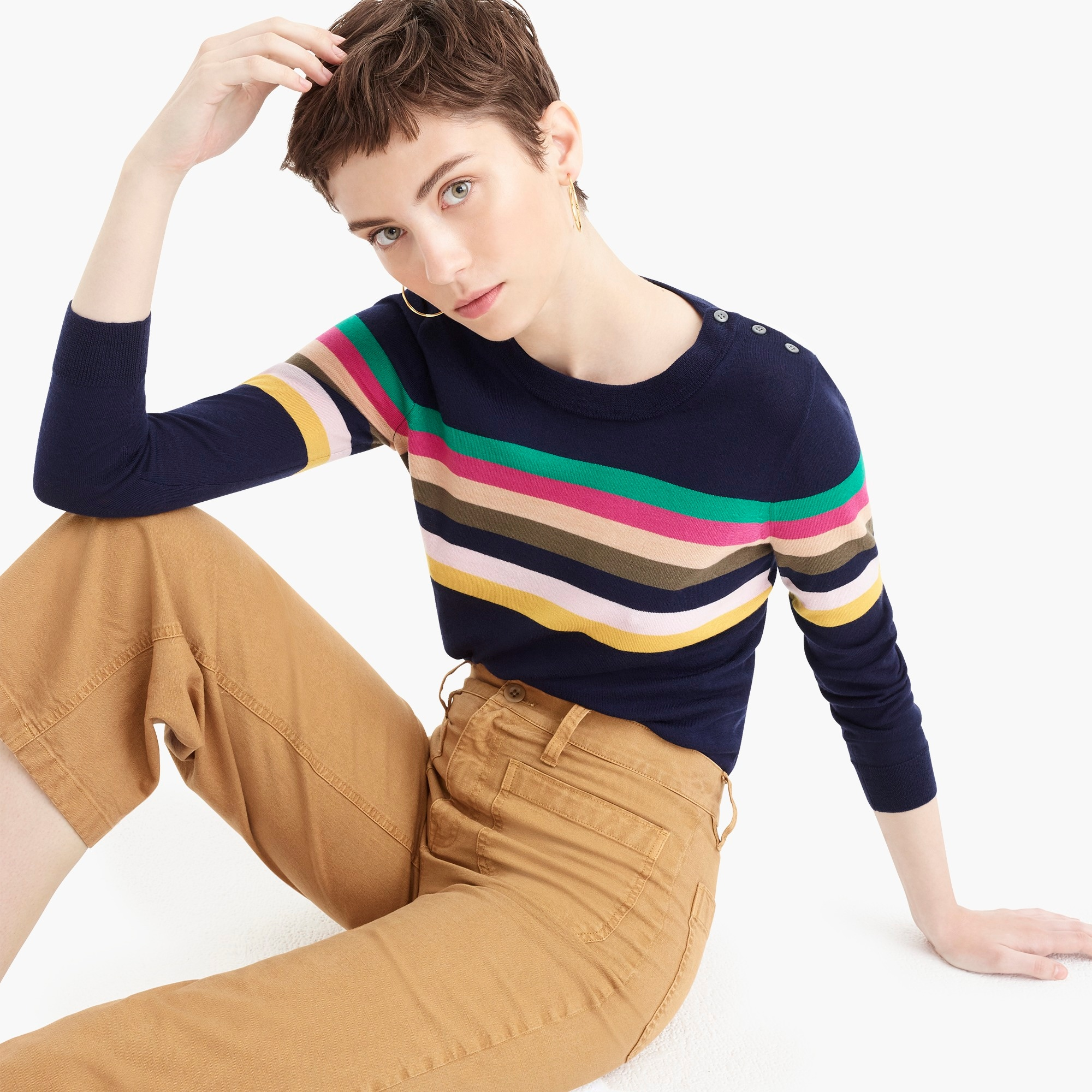 womens Tippi sweater in multistripe with shoulder buttons