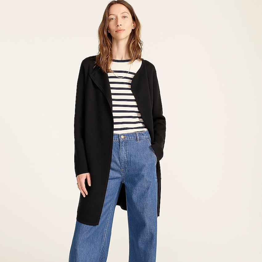 j.crew: juliette collarless sweater-blazer for women, right side, view zoomed
