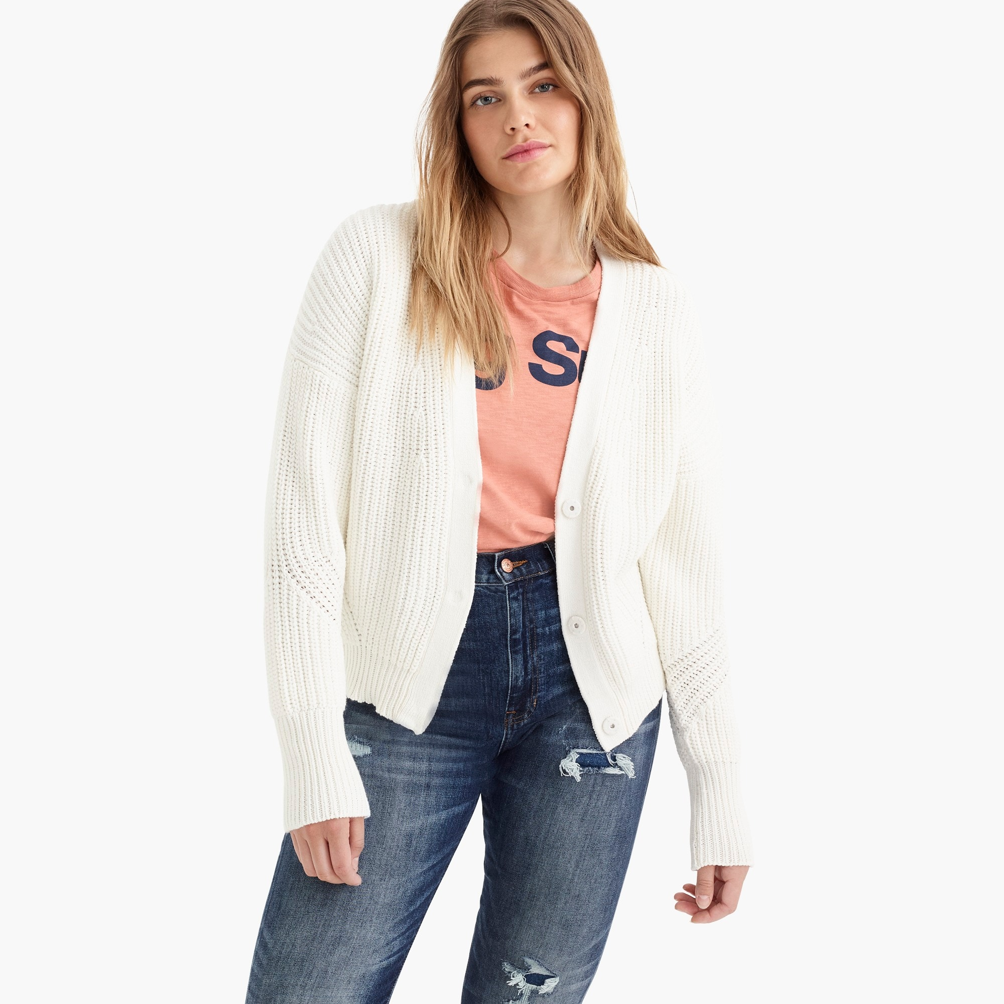 point sur ribbed cardigan sweater : women sweaters